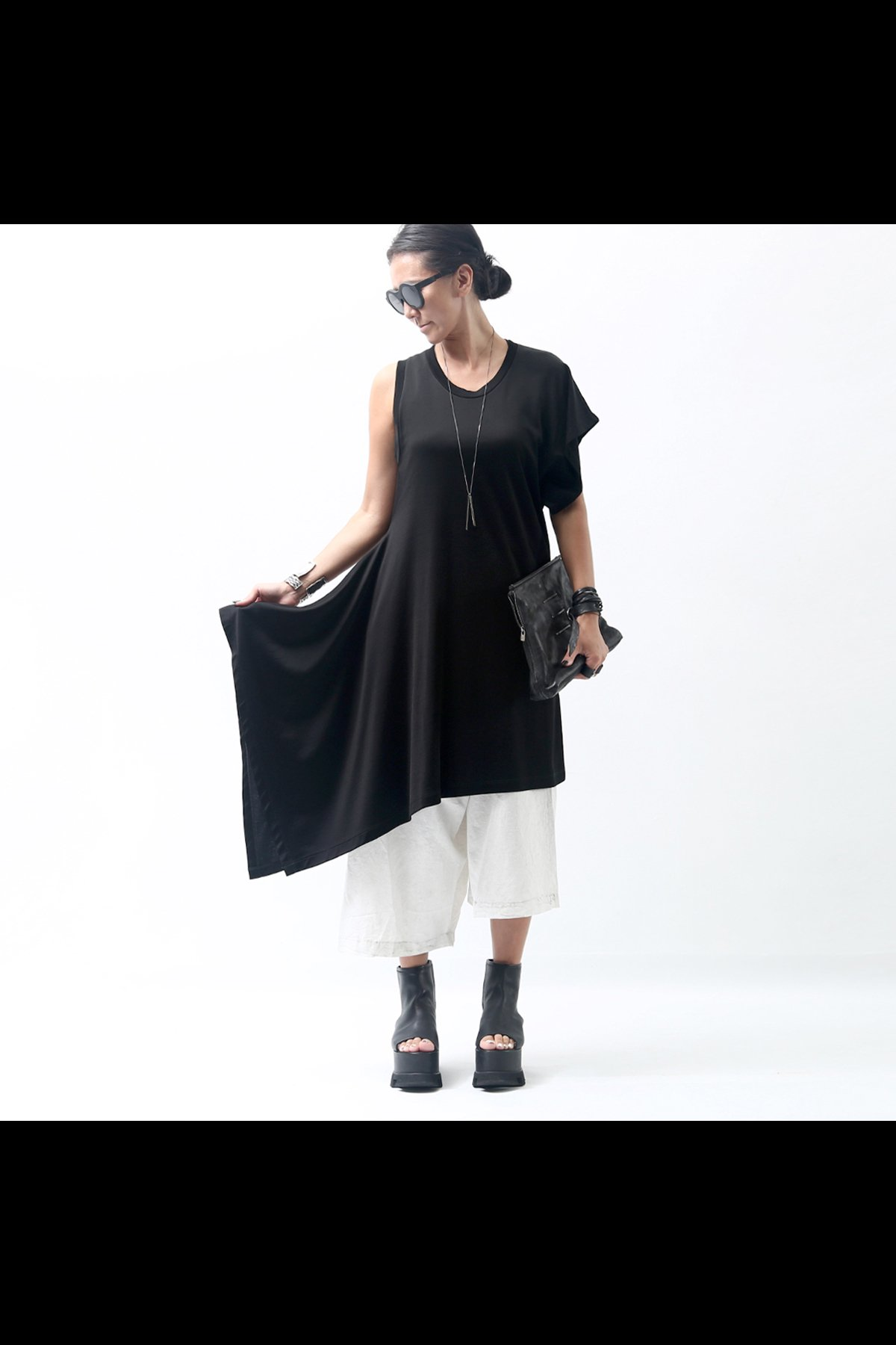 ASYMMETRY TUNIC TOP S32CT0949_BLACK