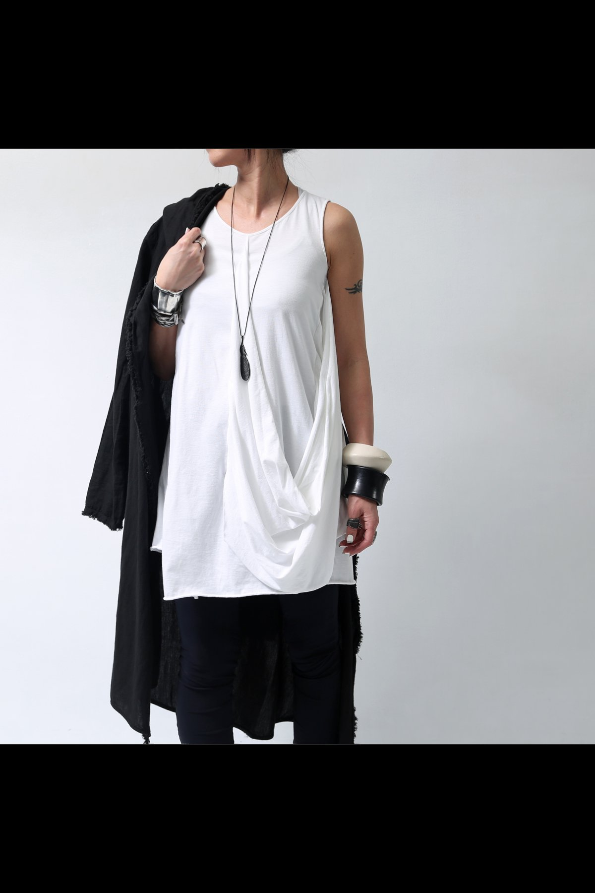 COTTON SIDE DRAPE TOP  251RO_WHITE