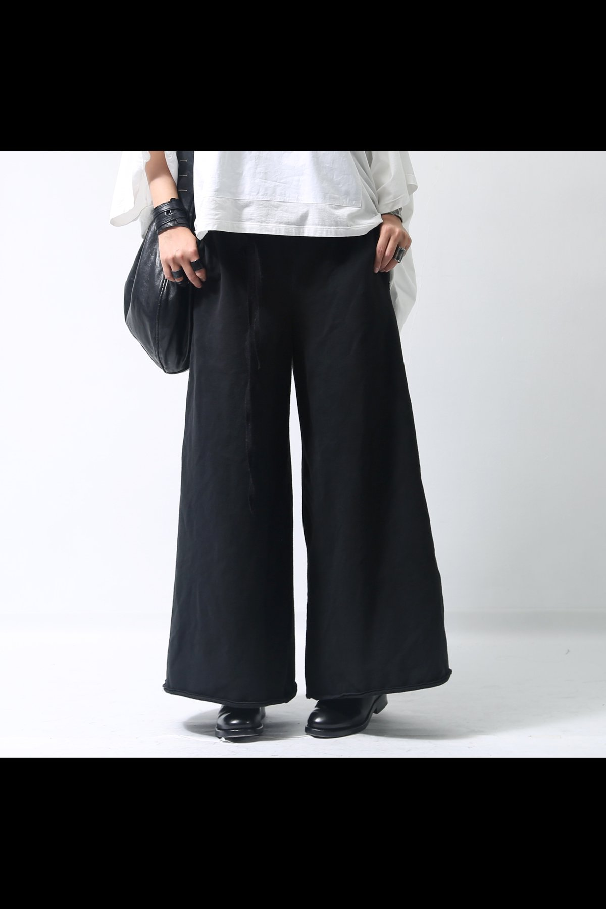 WIDE SWEAT PANTS  P58_BLACK