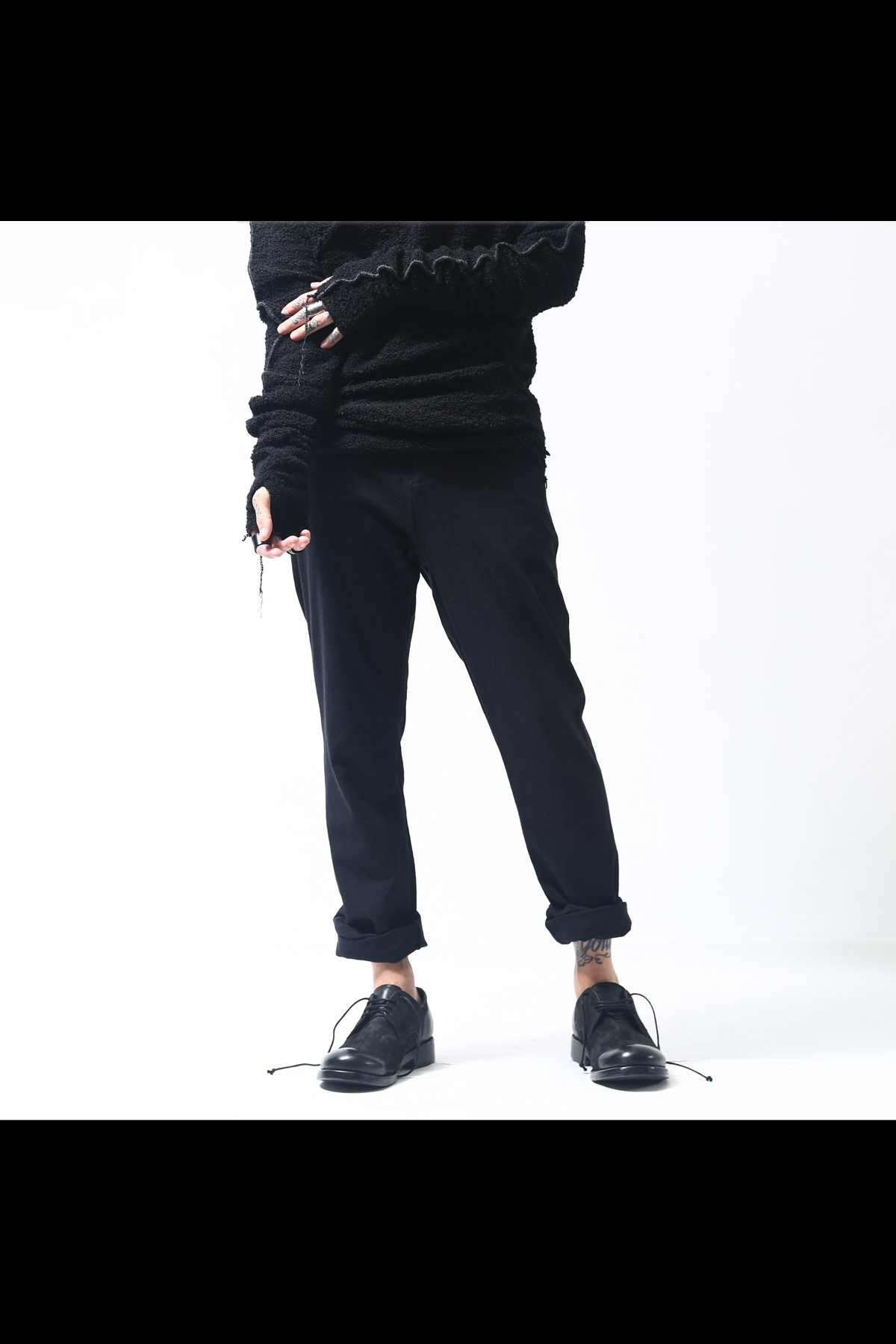 WOOL COTTON TAPERED PANTS  P01_BLACK