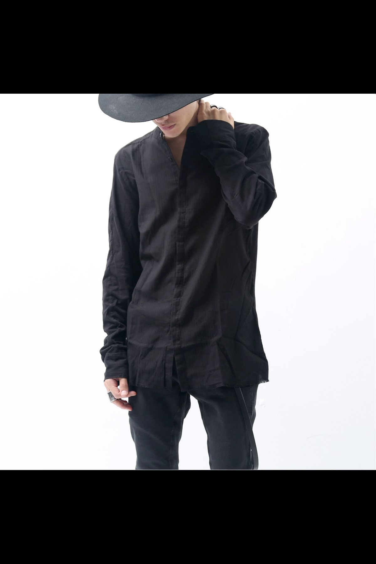 BLACK STRIPE COTTON SHIRT MH100_BLACK