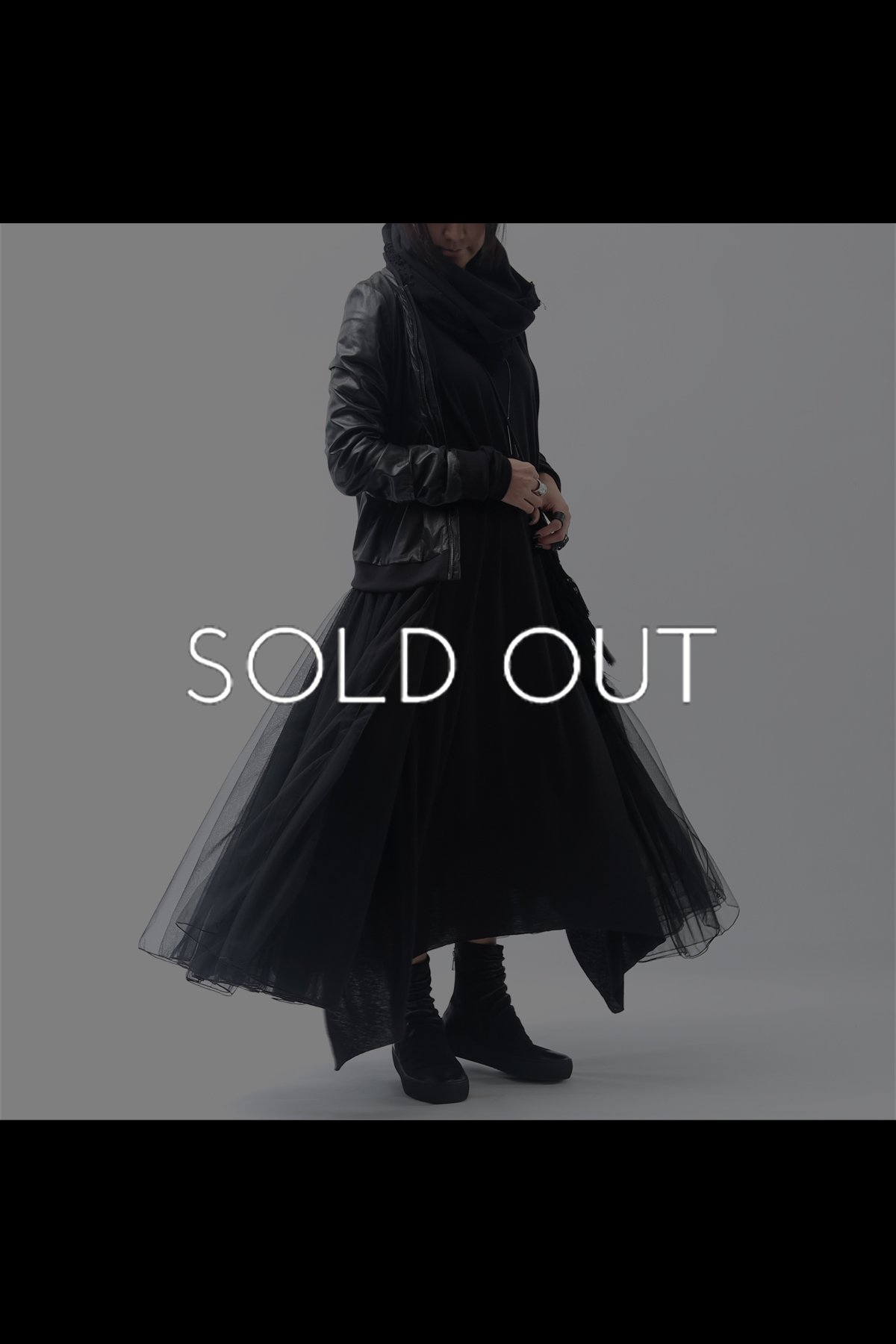 LEATHER JACKET WITH DETACHABLE TULLE D39