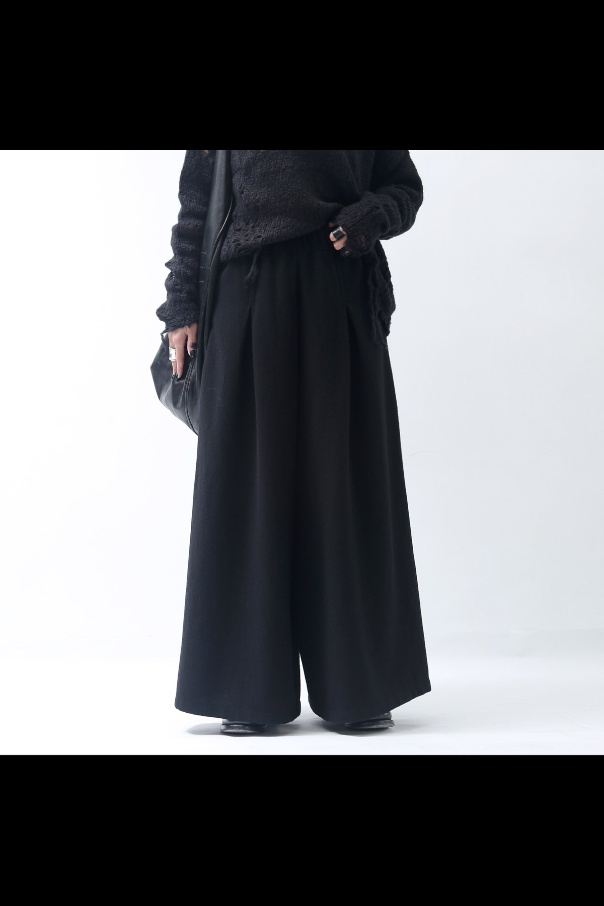 WOOL WIDE PANTS  325GIN_BLACK