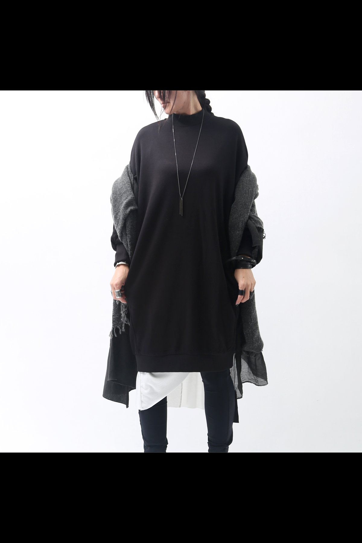 OVERSIZED SWEATSHIRT DRESS WS147_BLACK