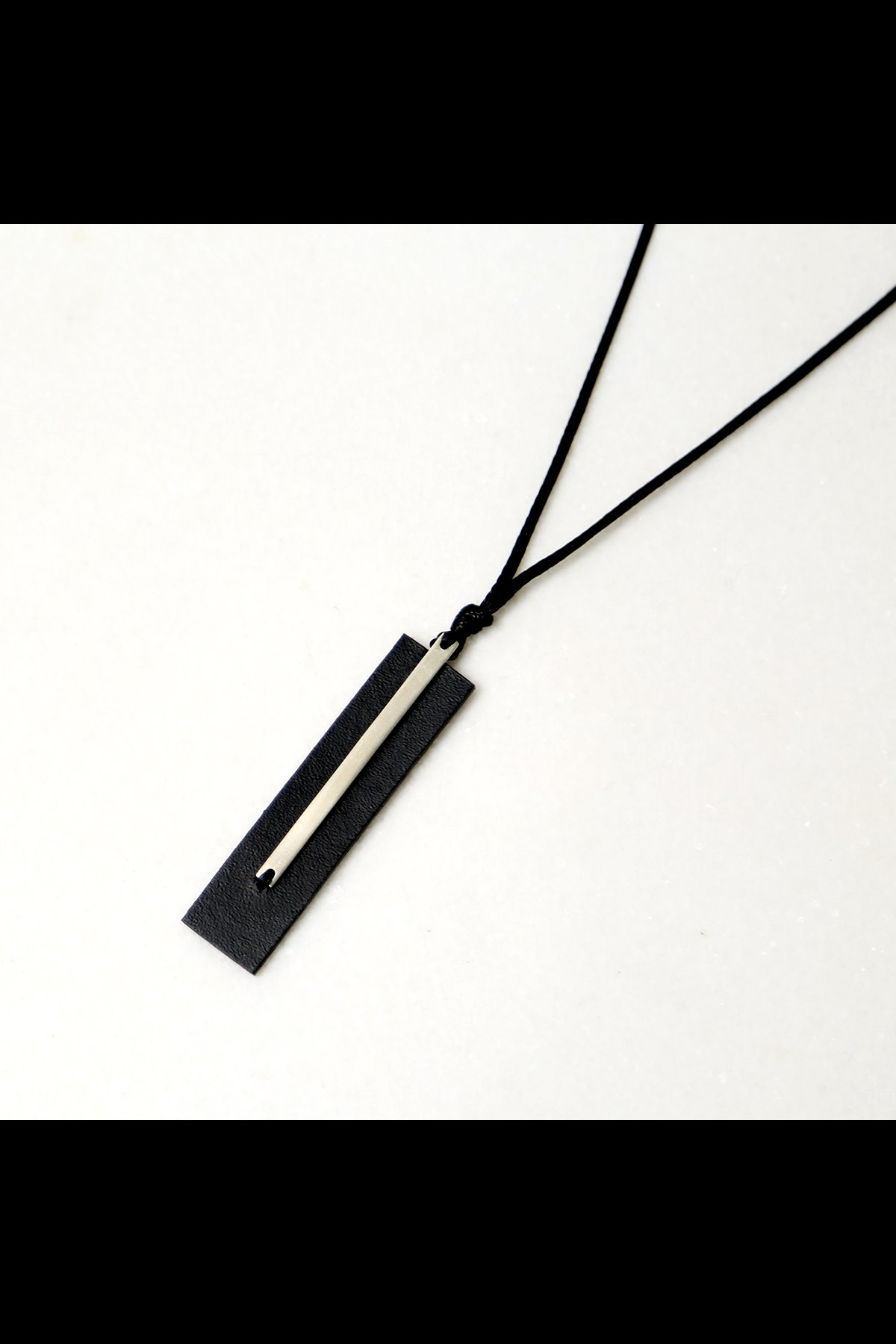 LEATHER+SILVER925 PLATE NECKLACE