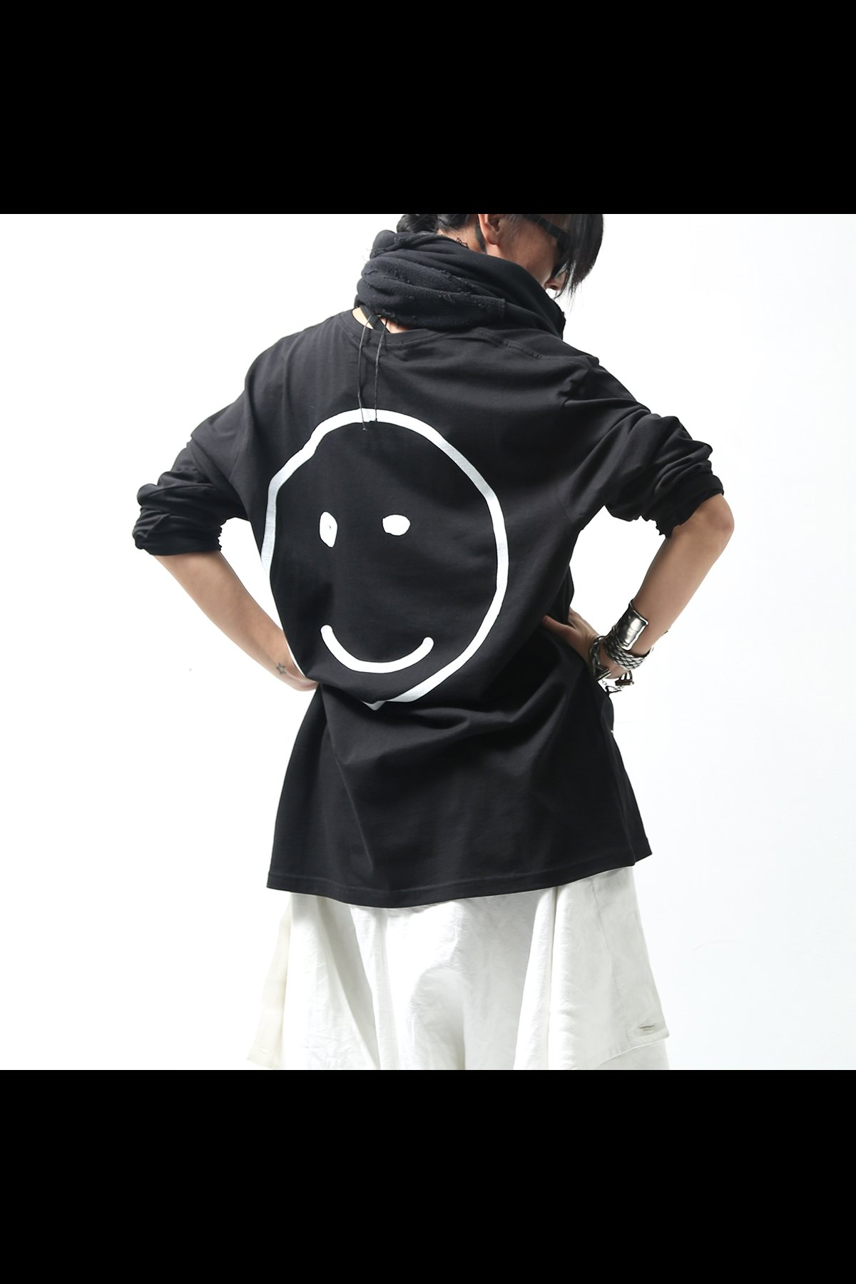 SMILE LONG SLEEVE TEE THS-0003 BLACK