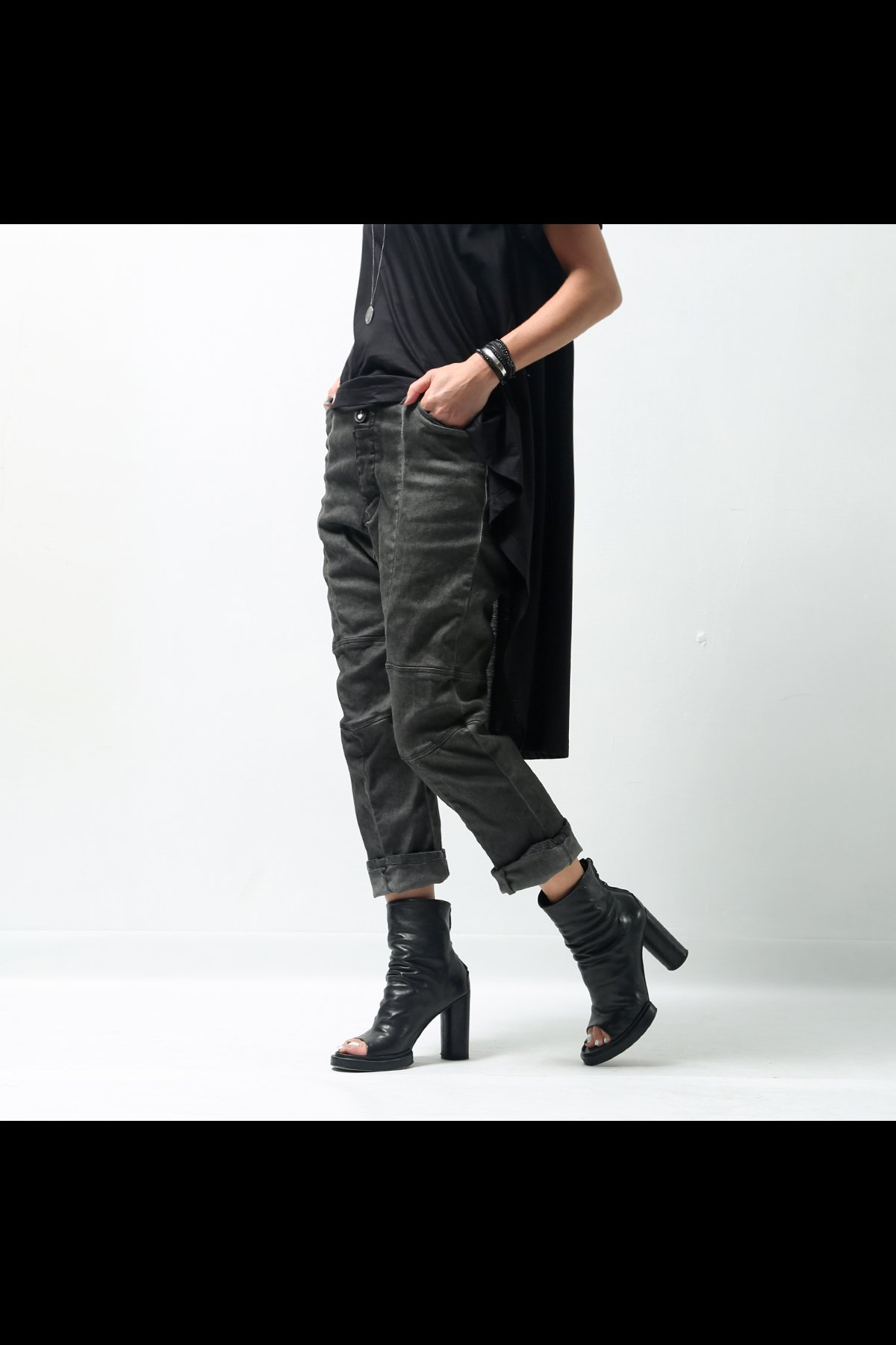 UNISEX STRETCH DENIM LOW CROTCH PANTS  DP16_BLACK