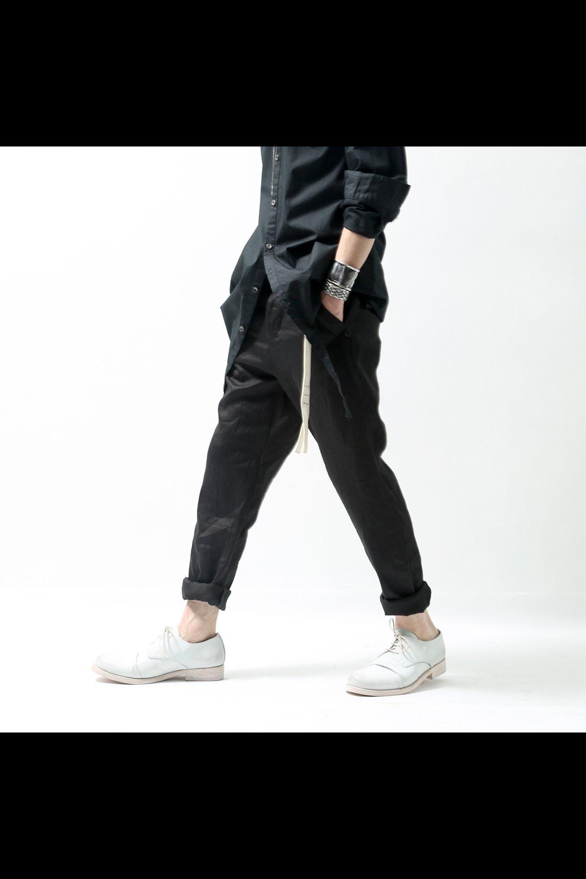 STRETCH LINEN PANTS  DP29_BLACK