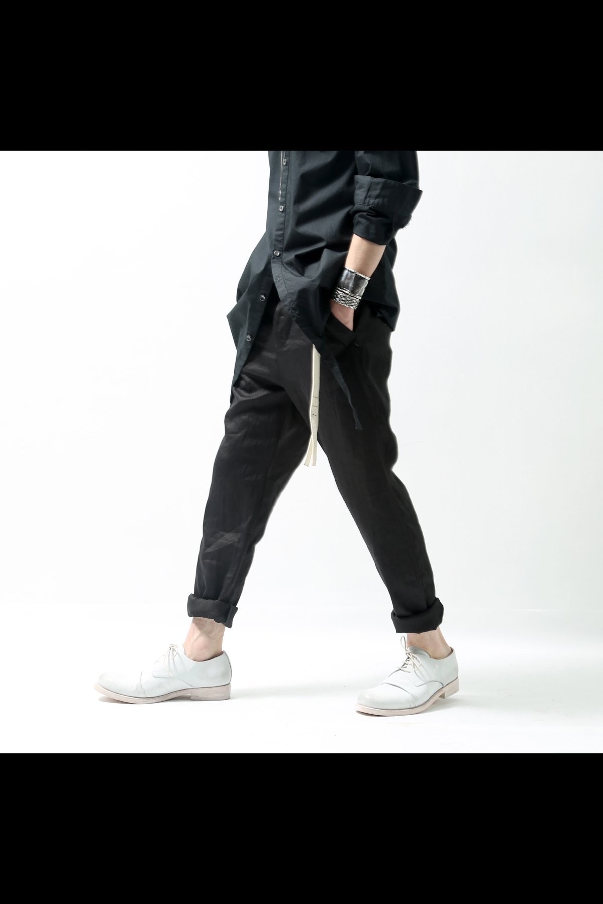 STRETCH LINEN PANTS  DP29_BLACK