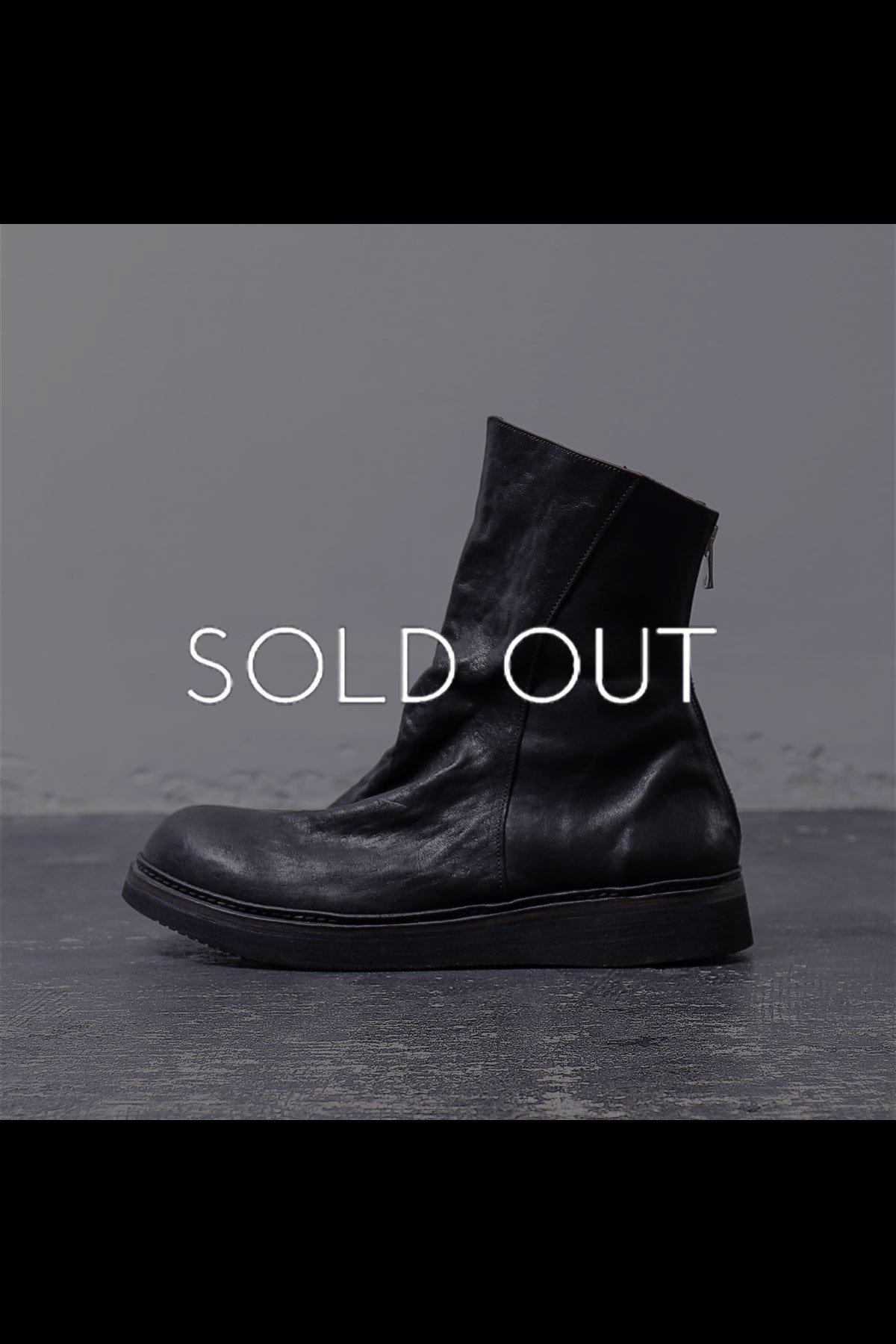FRONT DRAPE LEATHER BOOTS PQ01M_BLACK