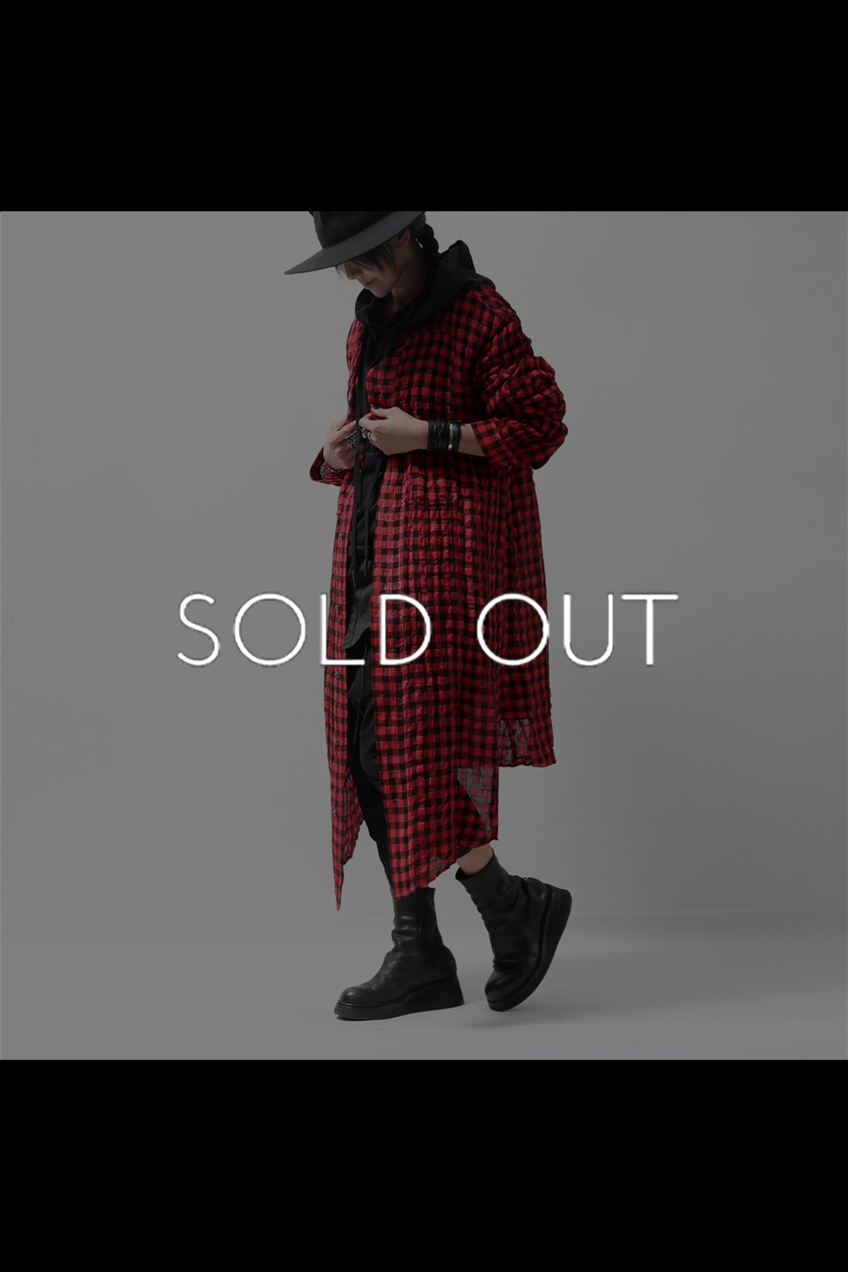 UNISEX CHECKERED LONG SHIRT C70_RED