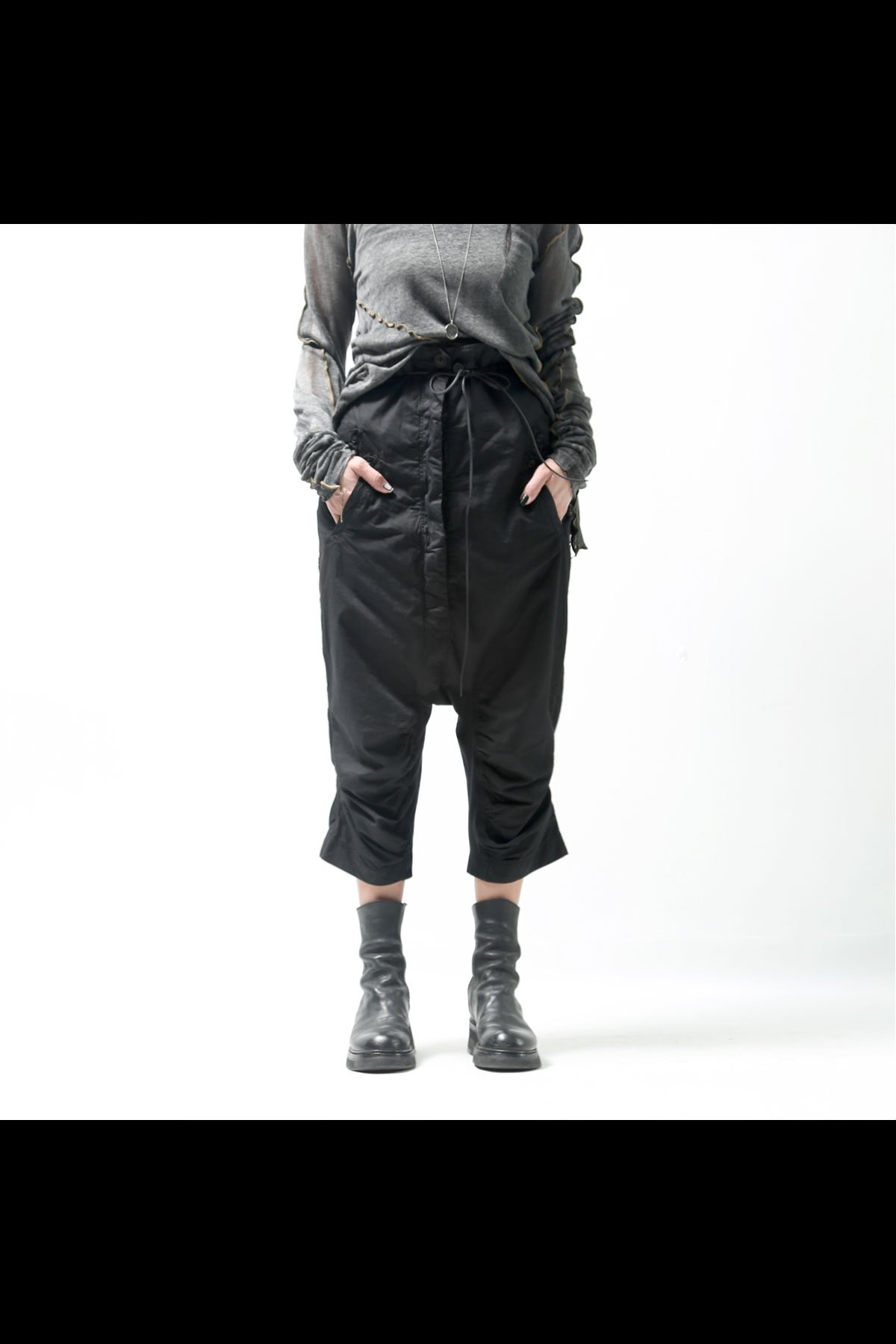 COTTON SARROUEL PANTS 260 0104_BLACK