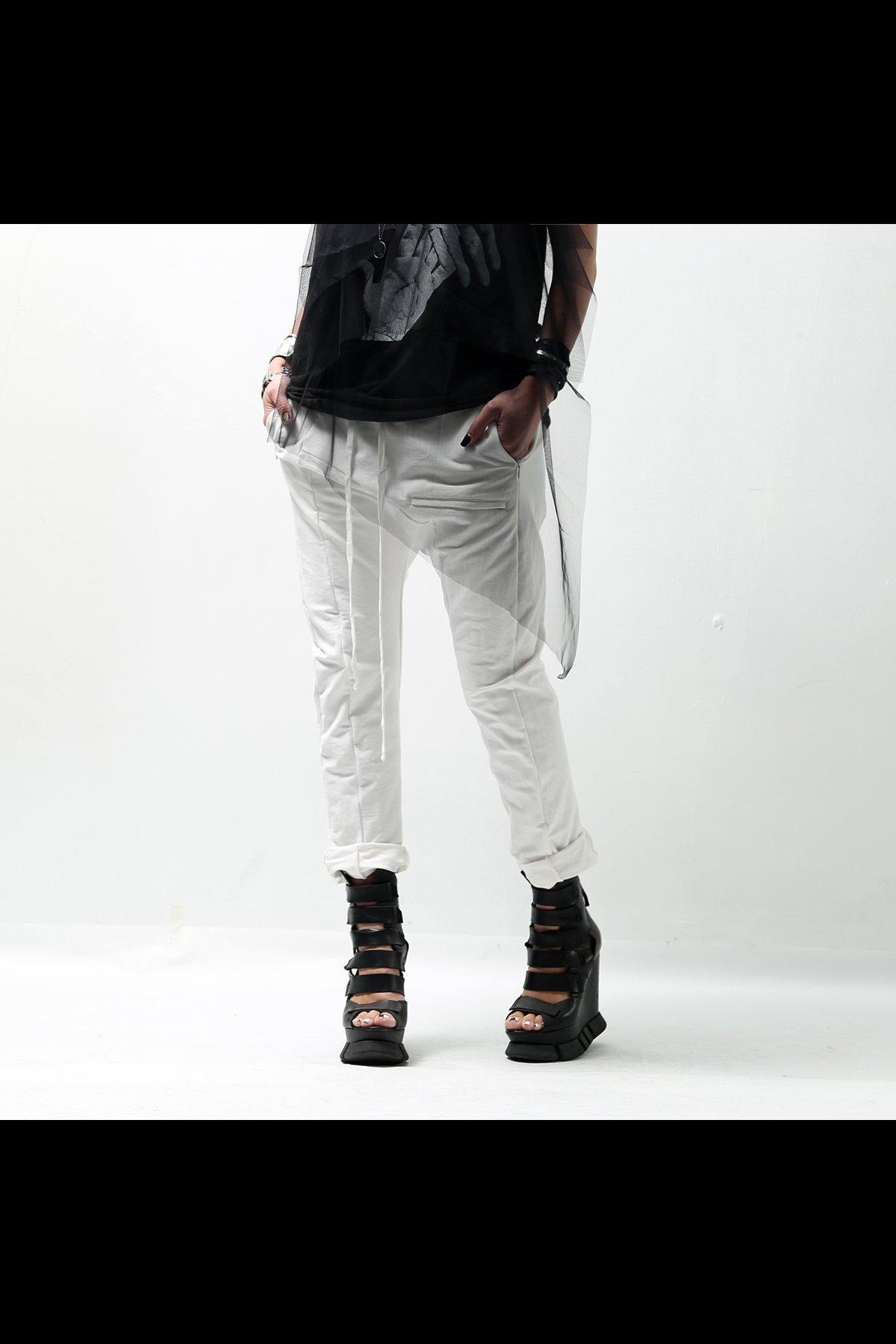 STRETCH COTTONT UNISEX PANTS 131UP04_WHITE