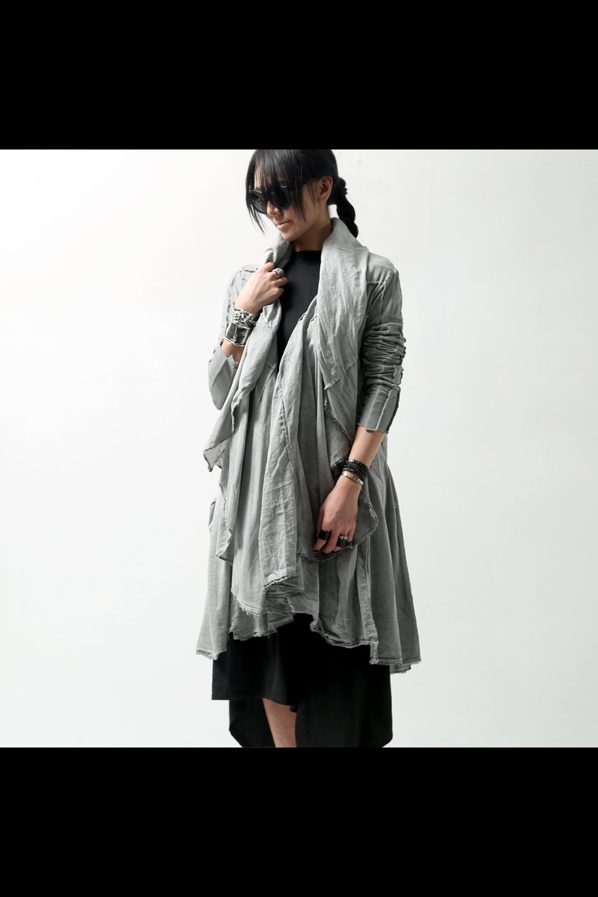 LONG SLEEVE DRAPE CARDIGAN 256 1219_COAL
