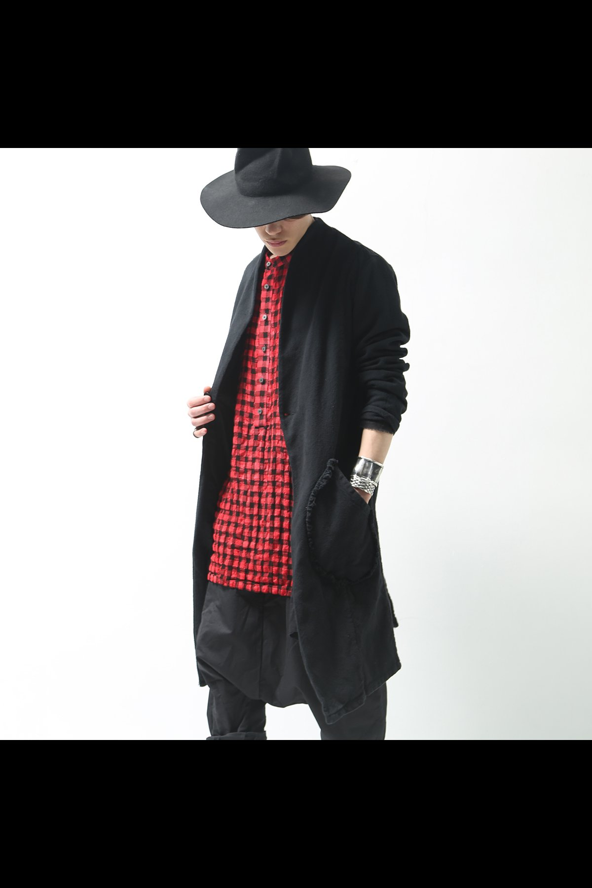 UNISEX COLLARLESS COTTON LONG JACKET 119-601_BLACK