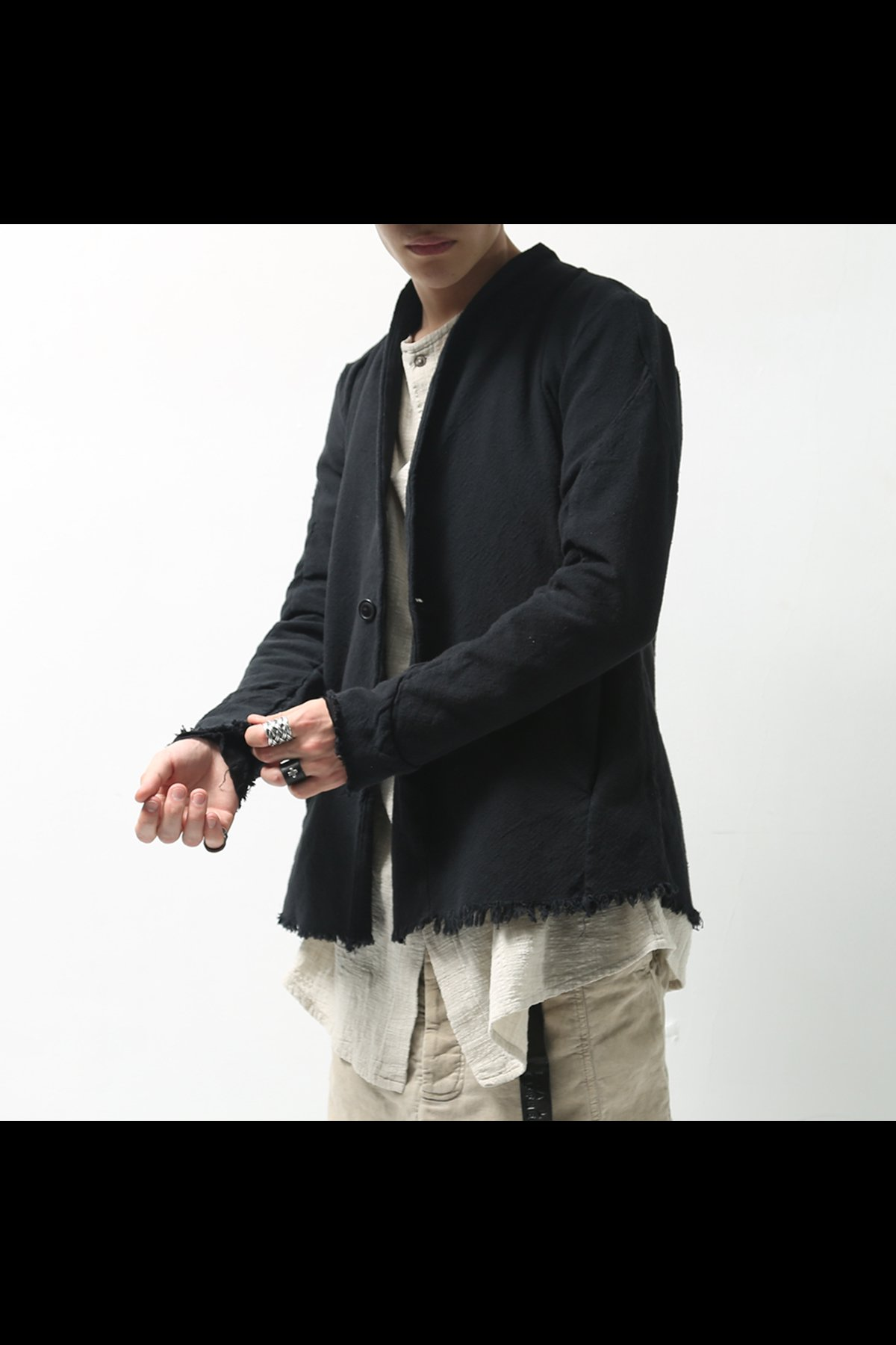 UNISEX COLLARLESS COTTON JACKET 119-602_BLACK