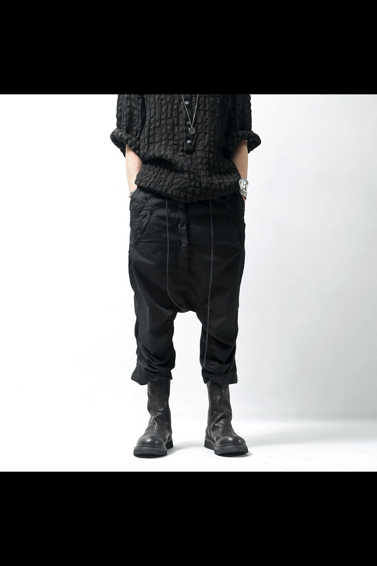 COTTON SARROUEL PANTS 260 0104_BLACK