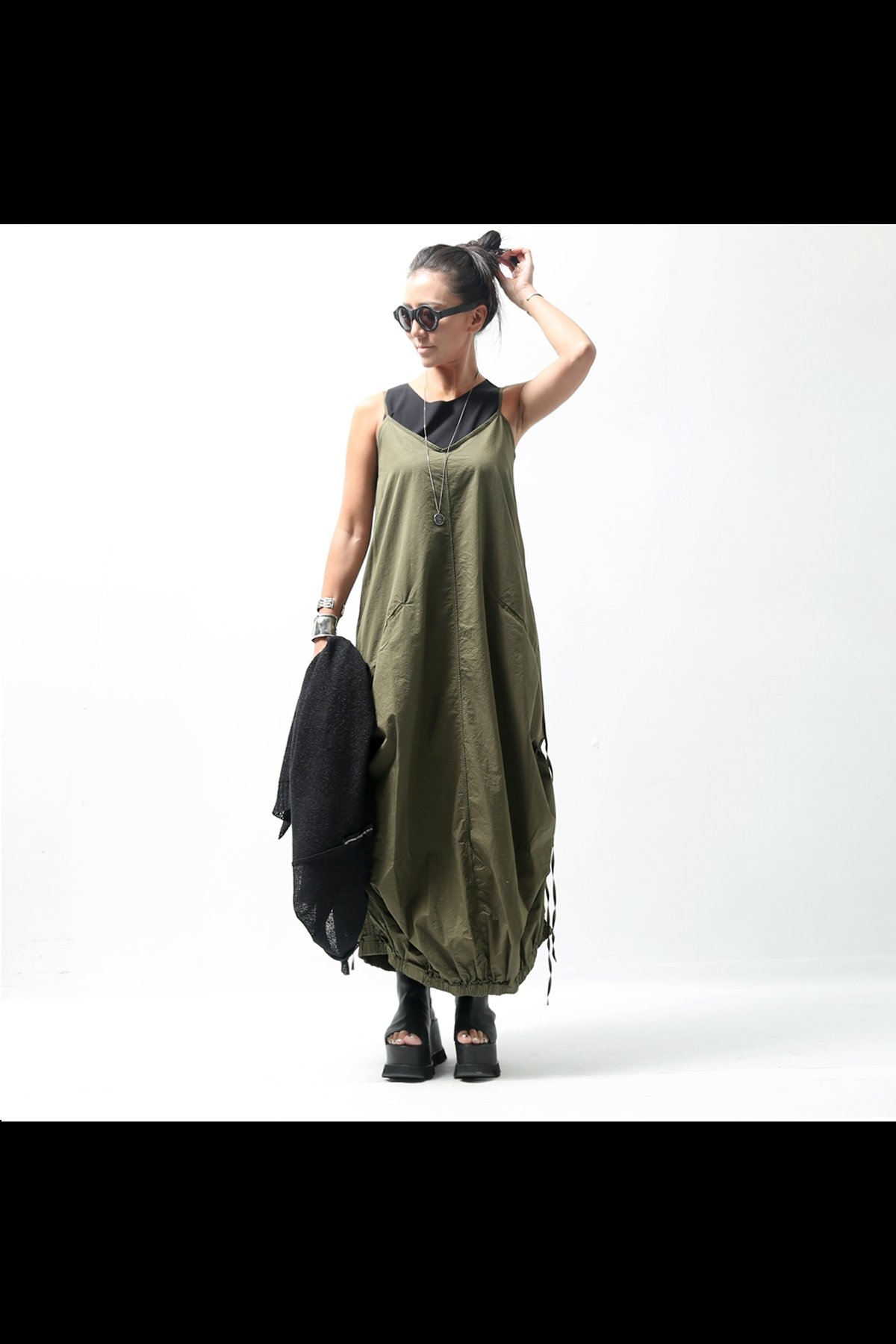 STRAP COCOON LONG DRESS VAR70_MILITARY