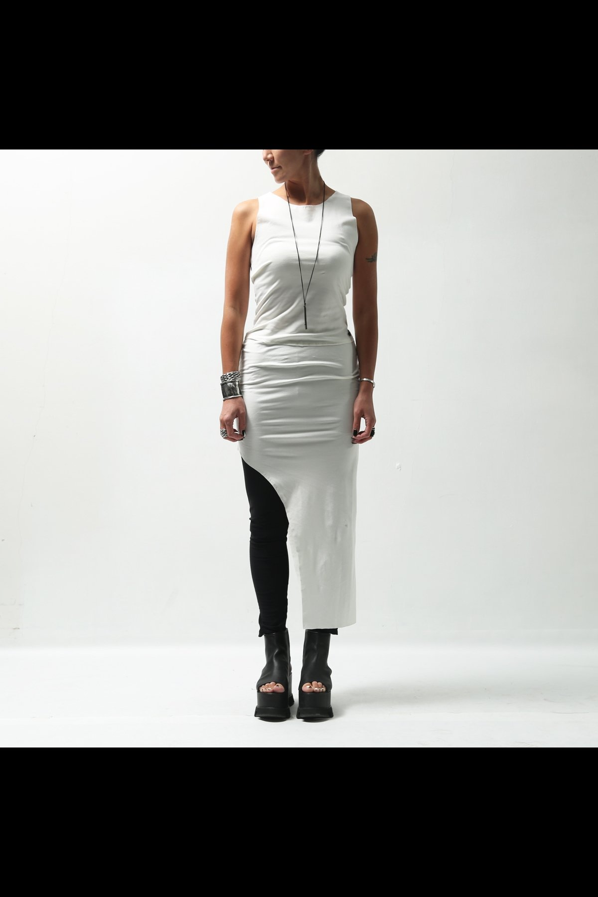 ASYMMETRIC LONG TANK TOP DD04_WHITE