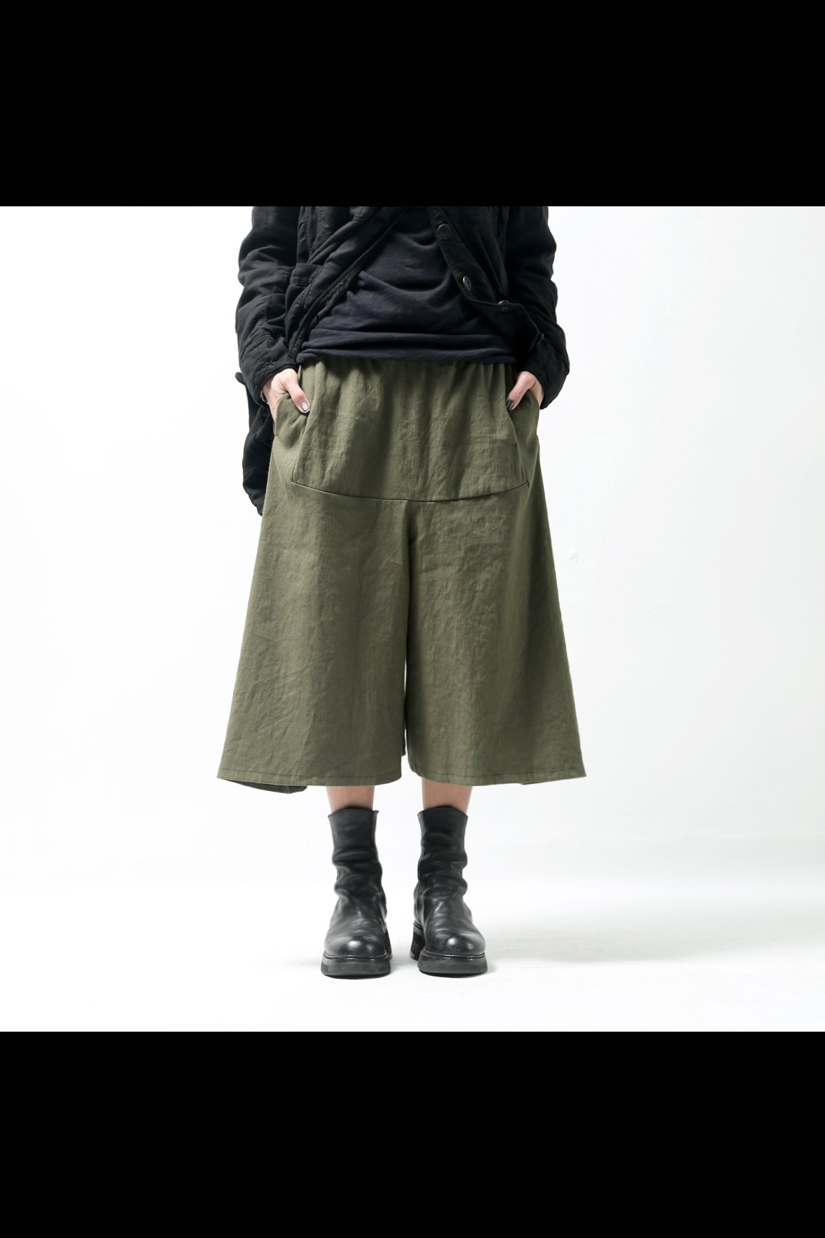 COTTON LINEN PANTS 2435TB_MILITARY