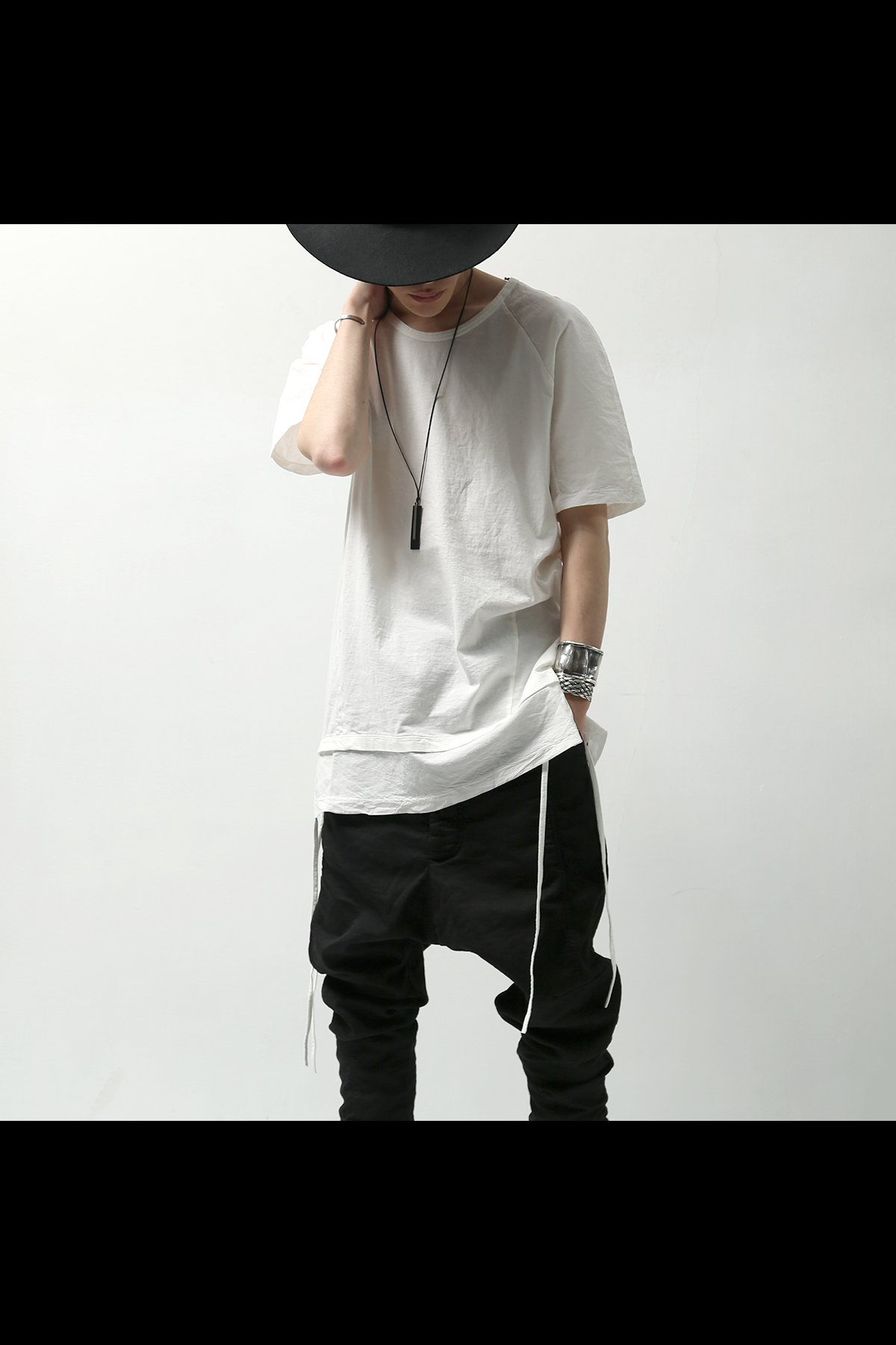 LAYERED HEM CORD TEE MOPT23_WHITE