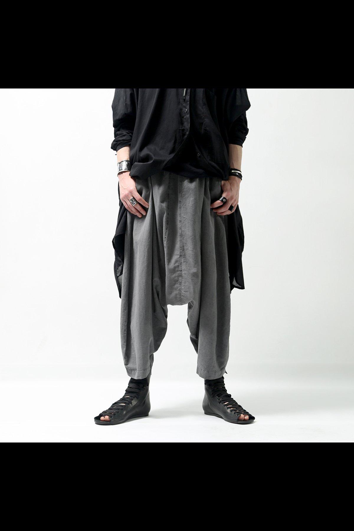 COTTON LINEN SARROUEL PANTS 510CL_GREY WASH