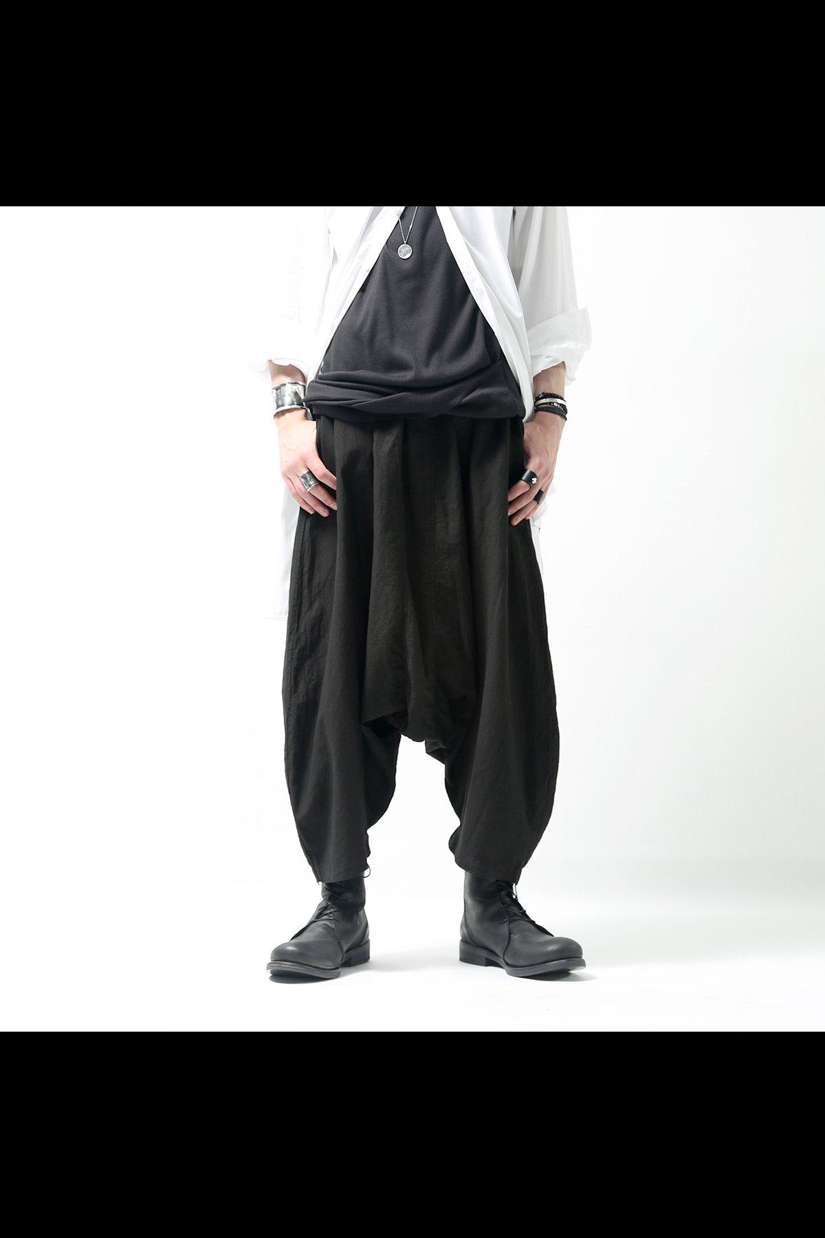 COTTON LINEN SARROUEL PANTS 510CL_BLACK