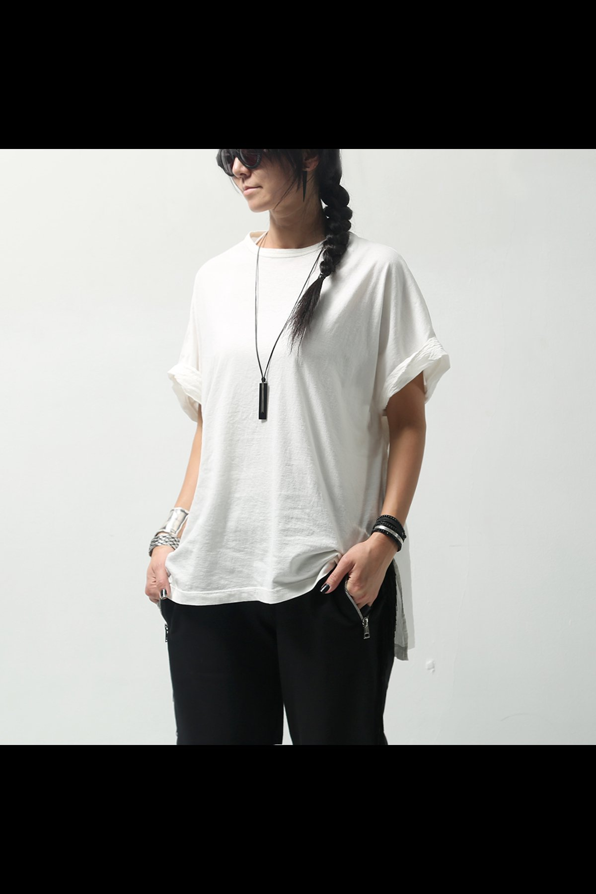 SLIT CREW NECK T-SHIRT OPT22_WHITE