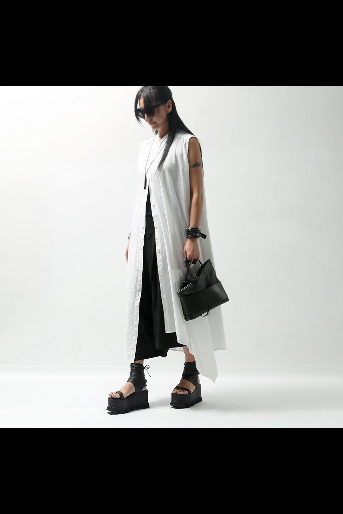 ASYMMETRY LONG SHIRT DRESS  215CL_WHITE