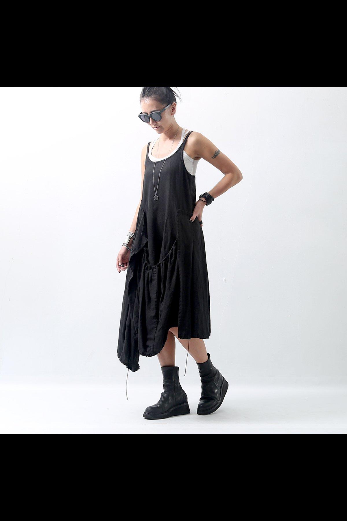 ASSYMETRIC TANK DRESS 347 0901_BLACK
