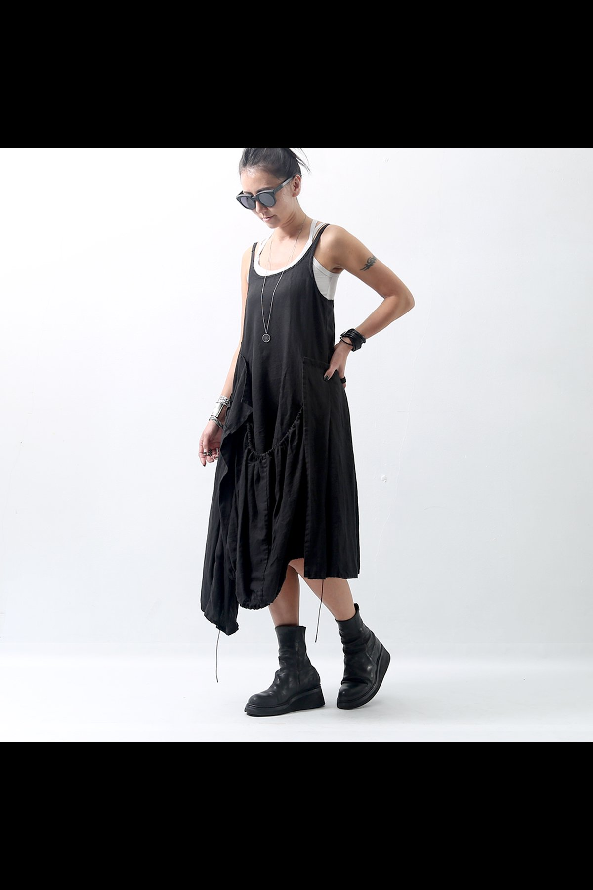 ASSYMETRIC TANK DRESS 347 0901_BLACK