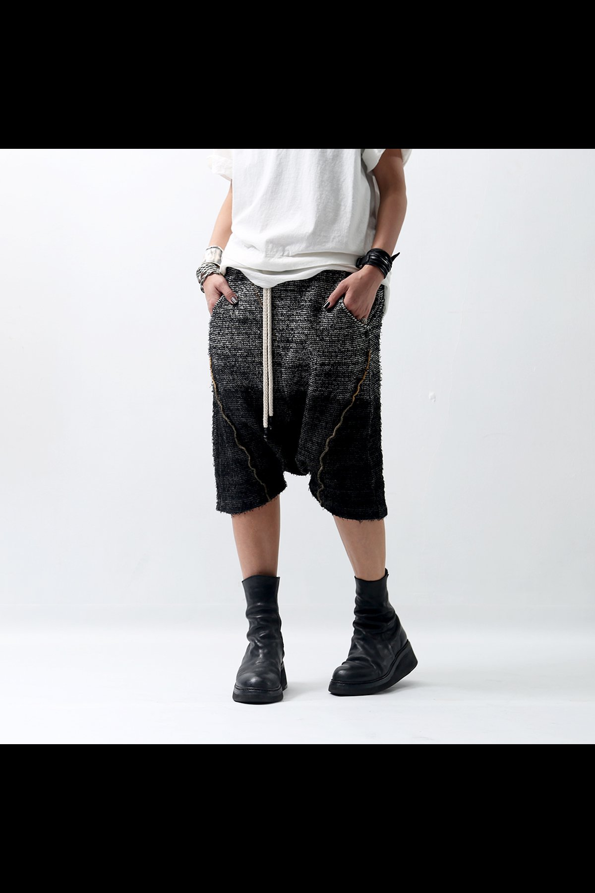 <img class='new_mark_img1' src='https://img.shop-pro.jp/img/new/icons8.gif' style='border:none;display:inline;margin:0px;padding:0px;width:auto;' />STRETCH SARROUEL PANTS P21_BLACK DEGRADE