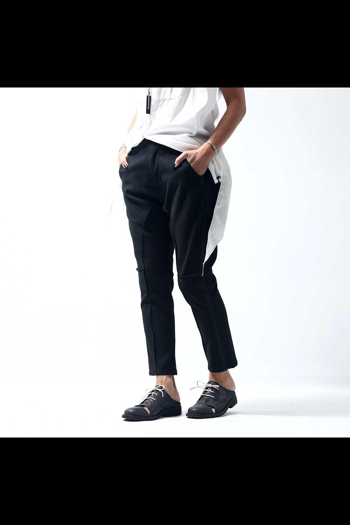 STRETCH SIDE LINE PANTS P37_BLACK