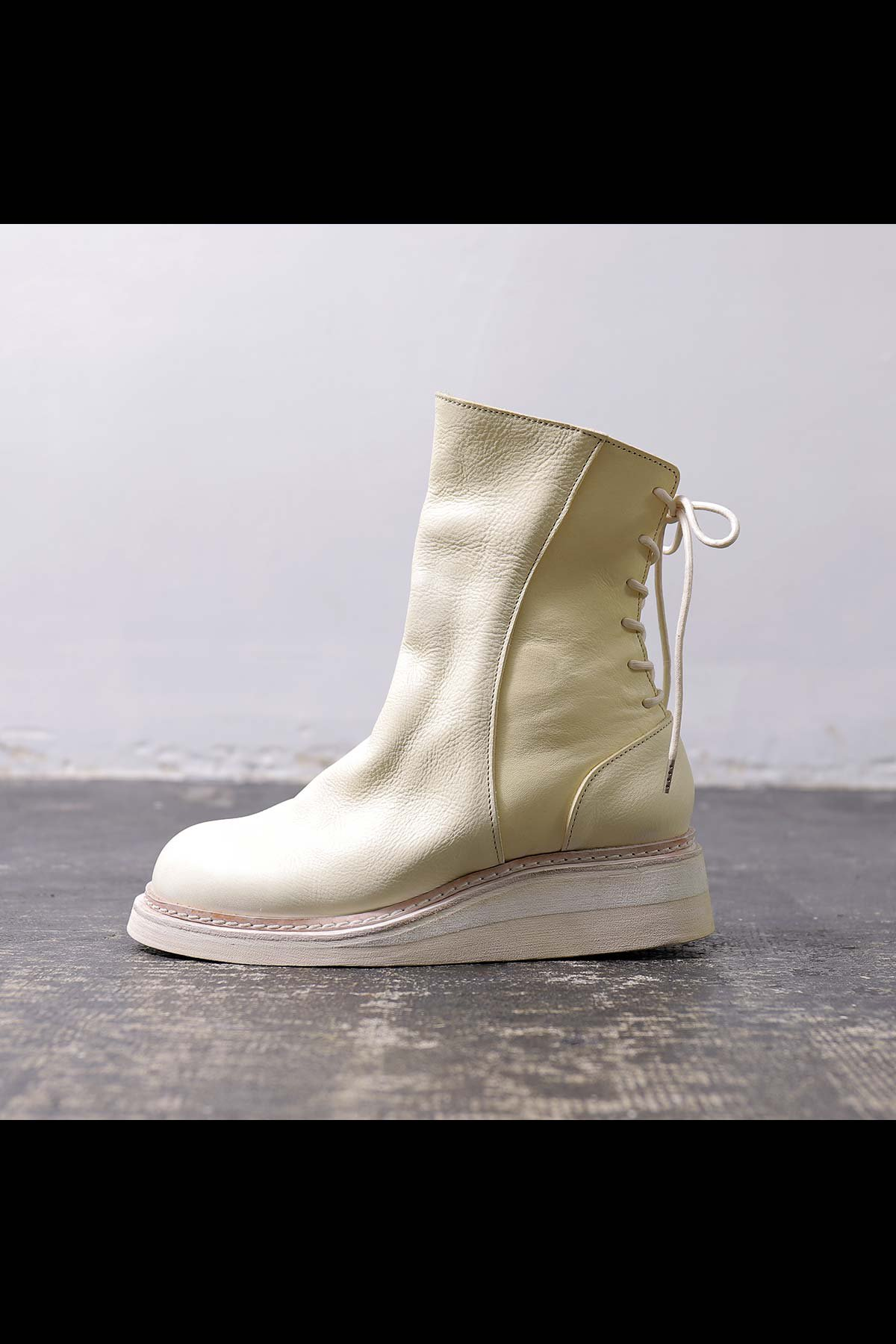 Portaille_BACK LACE UP LEATHER BOOTS PQ02F_WHITE