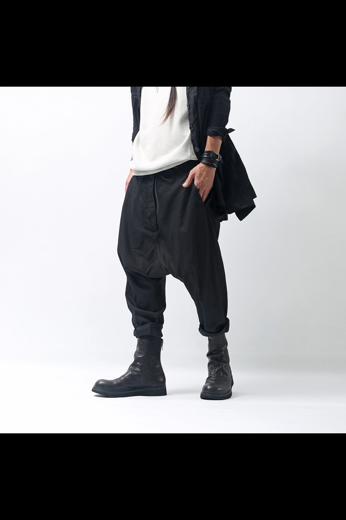 COTTON SARROUEL PANTS 260 0101_BLACK