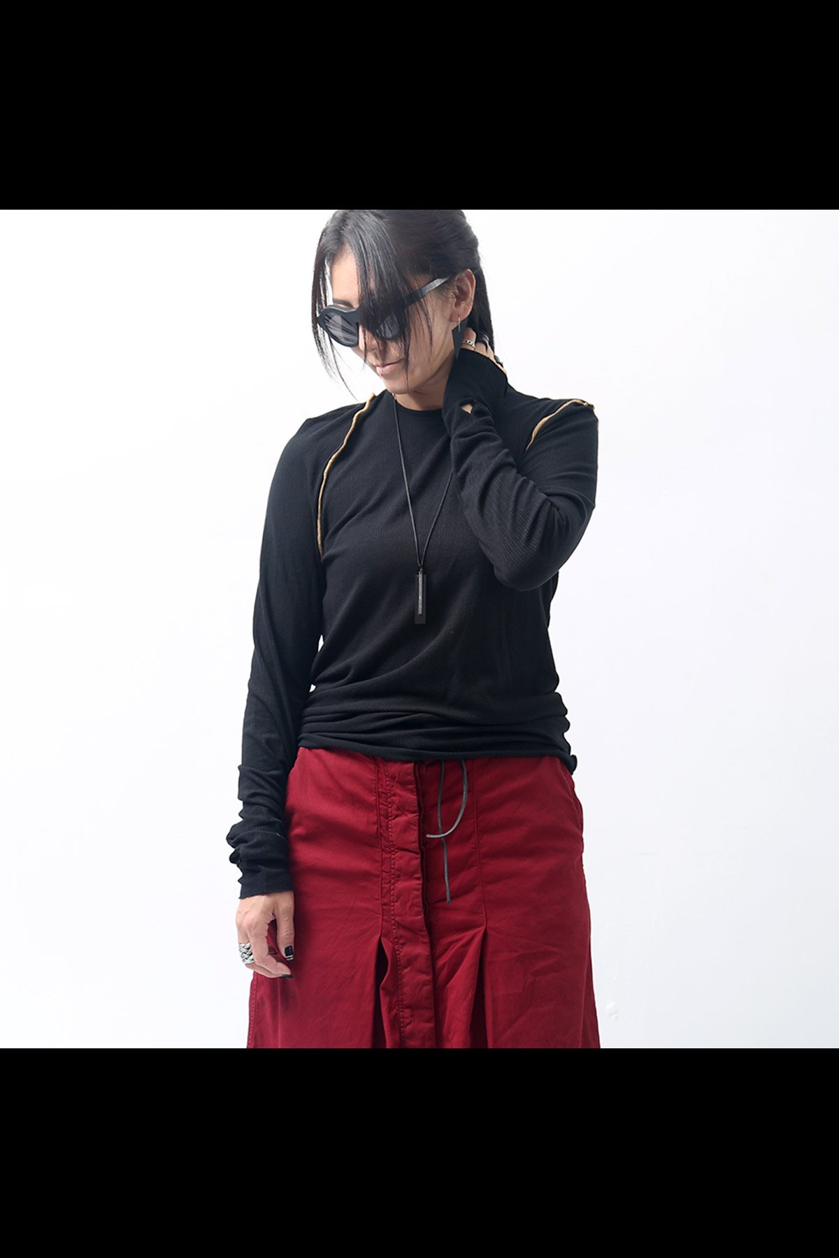 NOSTRASANTISSIMA_CREW NECK KNIT TOPS TS08_BLACK