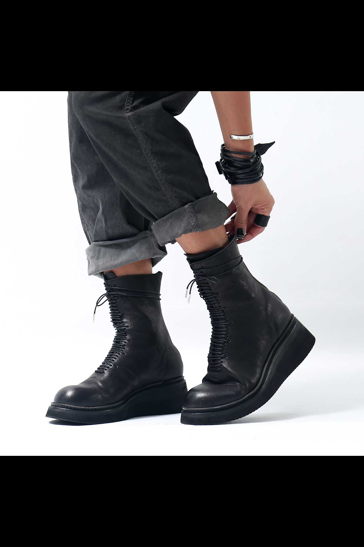 LACE UP HORSE LEATHER BOOTS PQ03F_BLACK