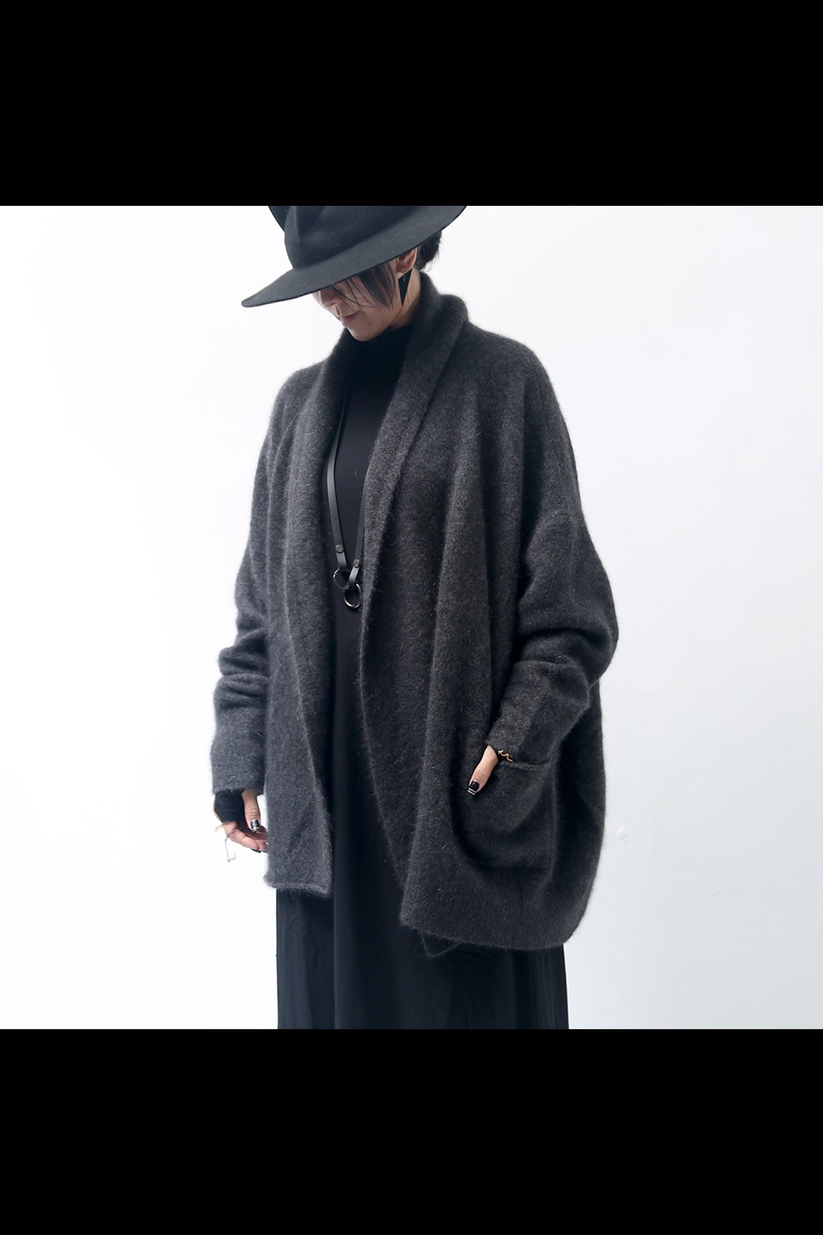 CAHMERE&RACCOON KNIT CARDIGAN 139 7107_ANTHRA
