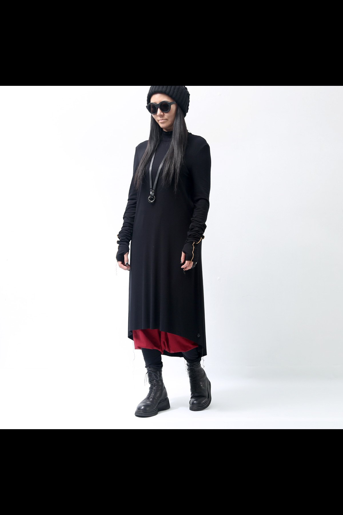 HIGHT NECK LONG DRESS D61_BLACK