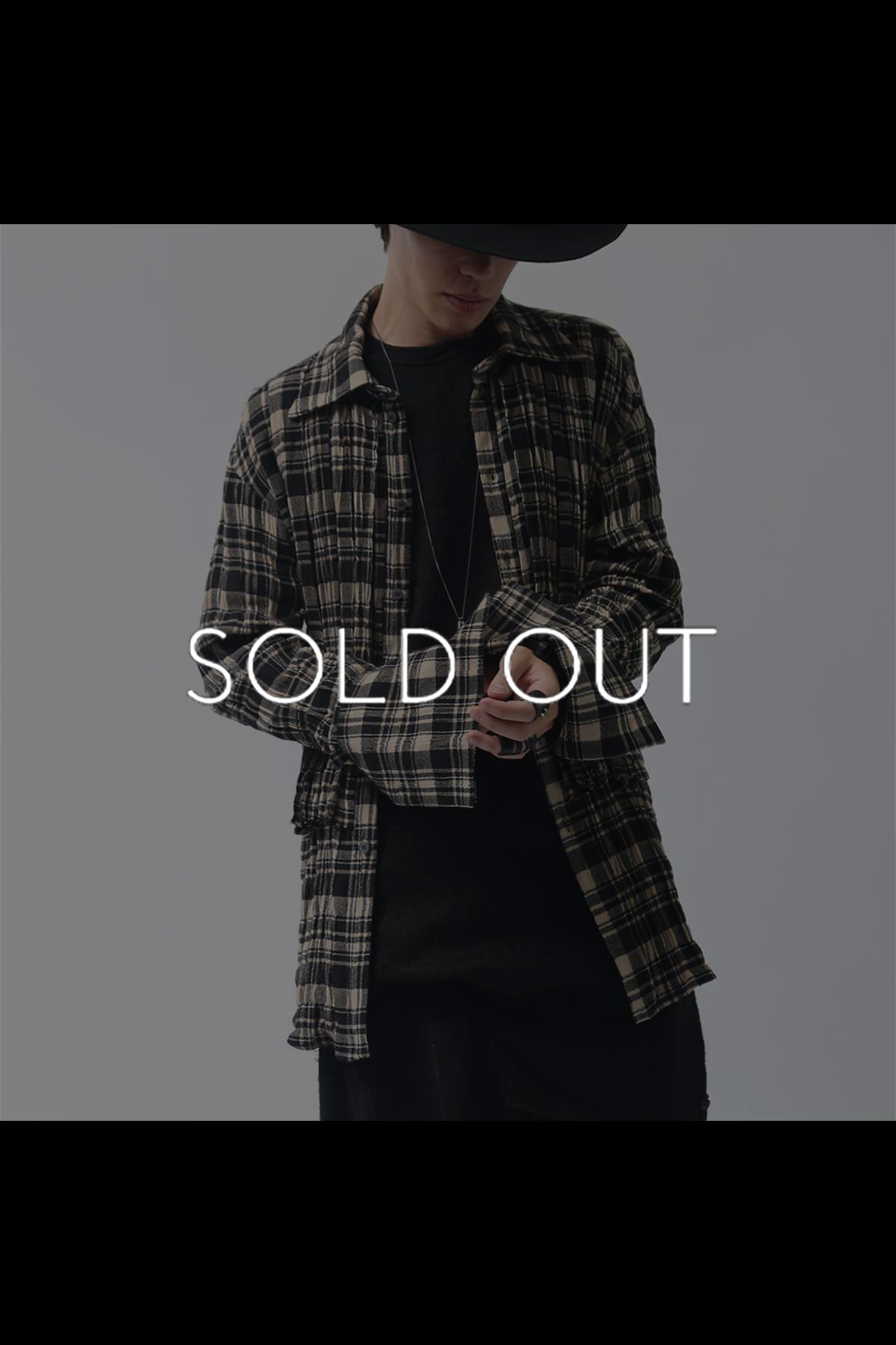 CHECKERED SHIRT C09_BEIGE BLACK