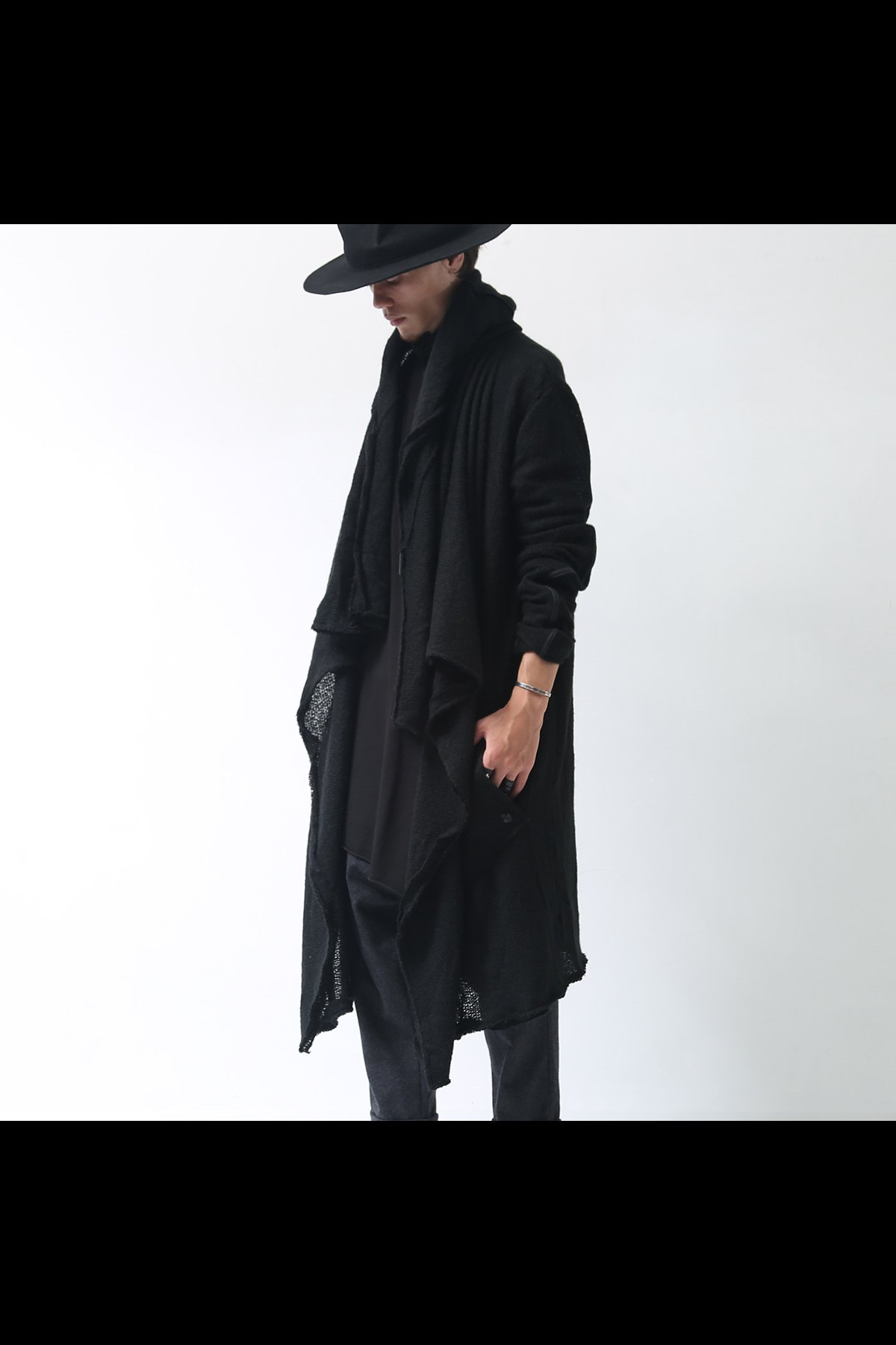 KNIT LONG CARDIGAN TS40_BLACK