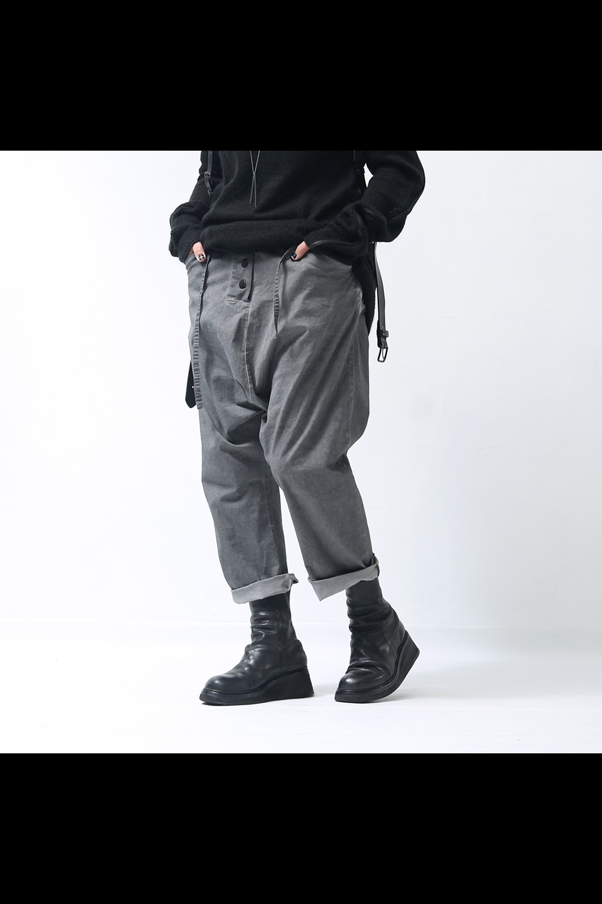 UNISEX CROPPED PANTS SB794_GREY OLD DYE