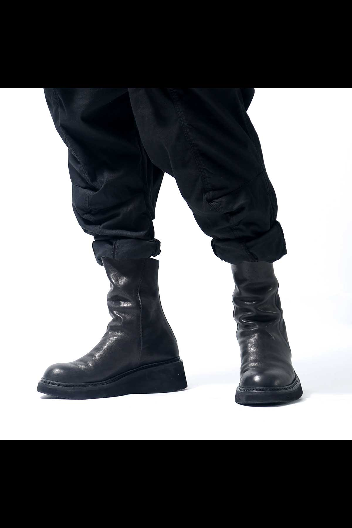 FRONT DRAPE LEATHER BOOTS PQ01F_BLACK