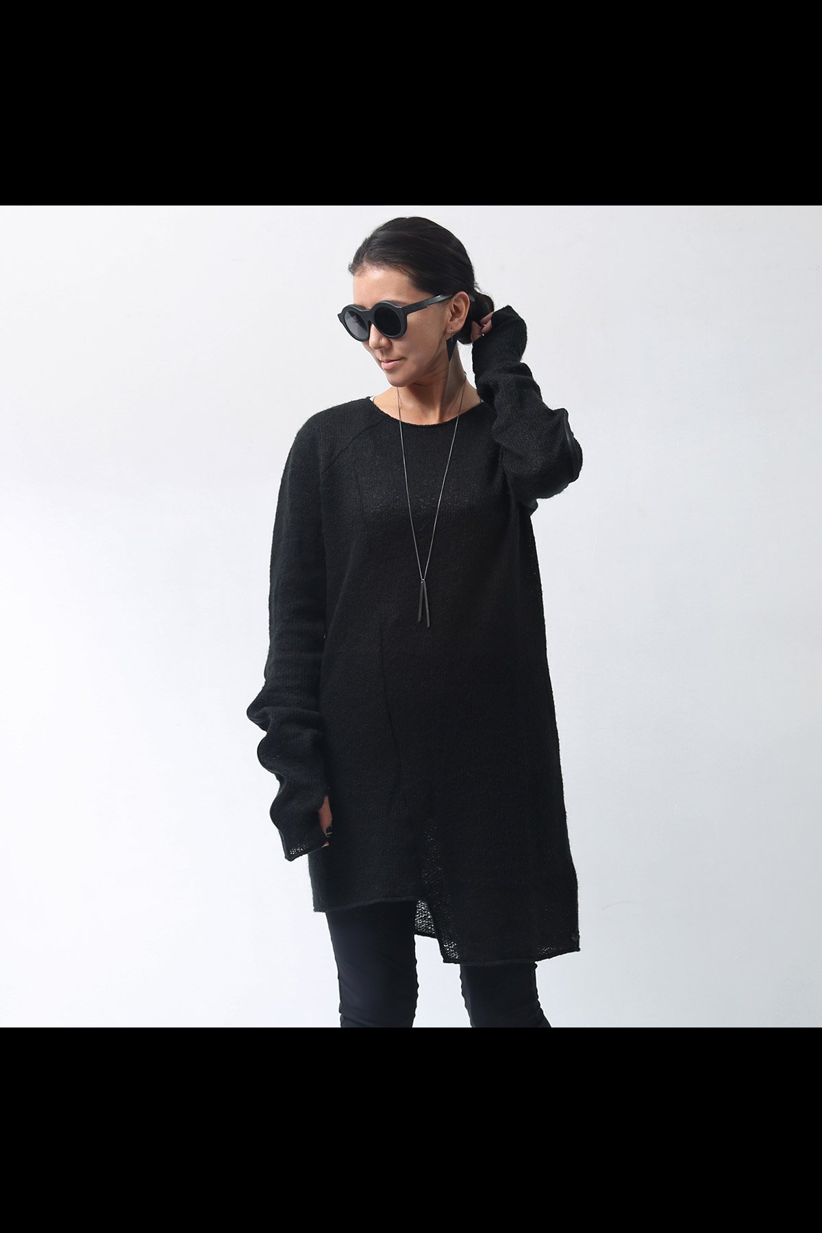 NOSTRASANTISSIMA_KNIT LONG TOPS TS39_BLACK