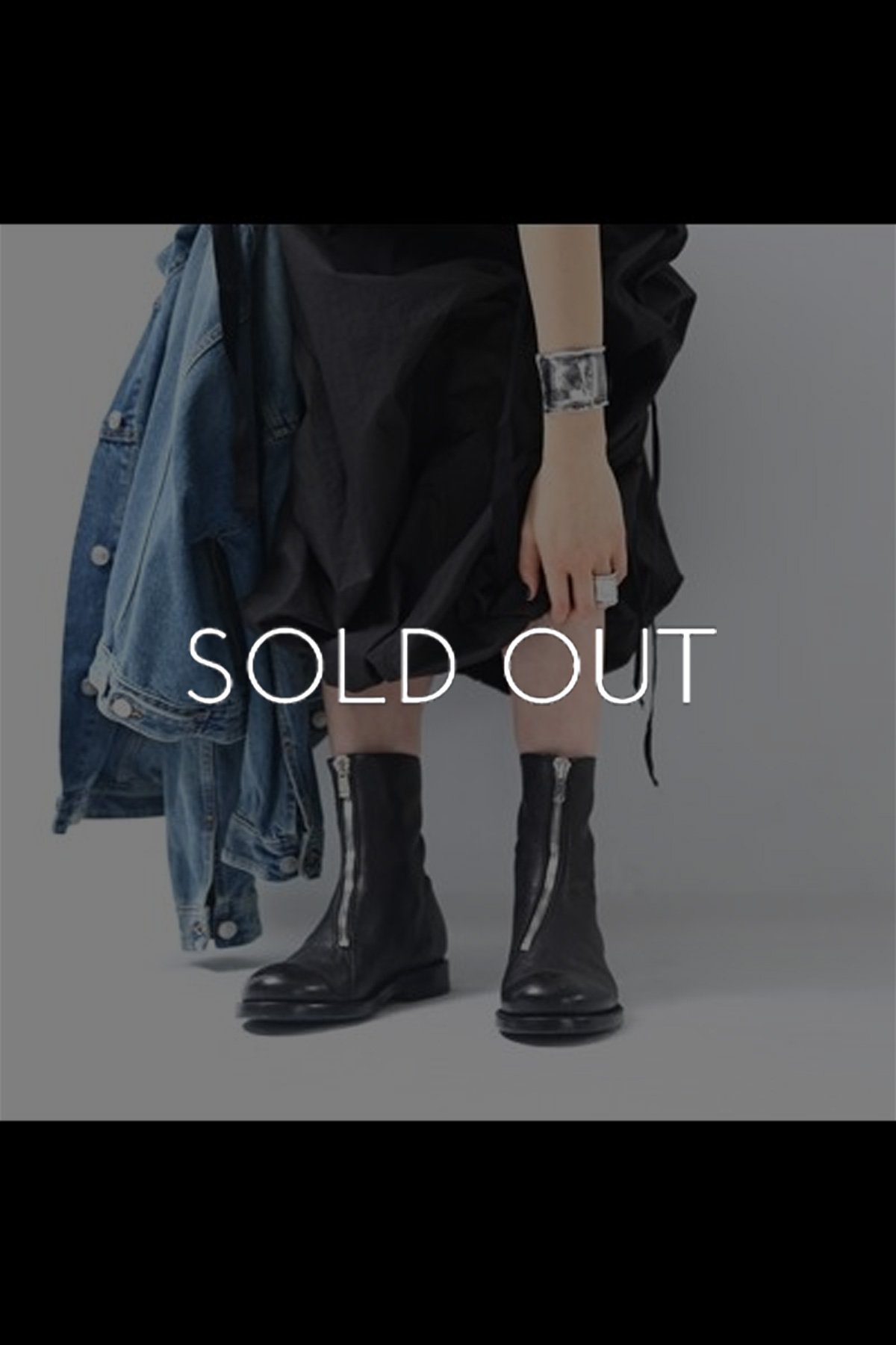 FRONT ZIP LEATHER BOOTS TLC2150_BLACK