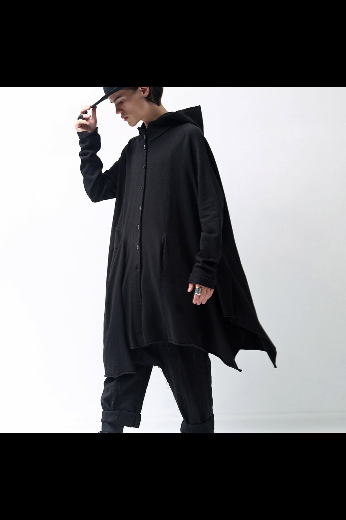SWEAT HOODED CARDIGAN 242 1202_BLACK