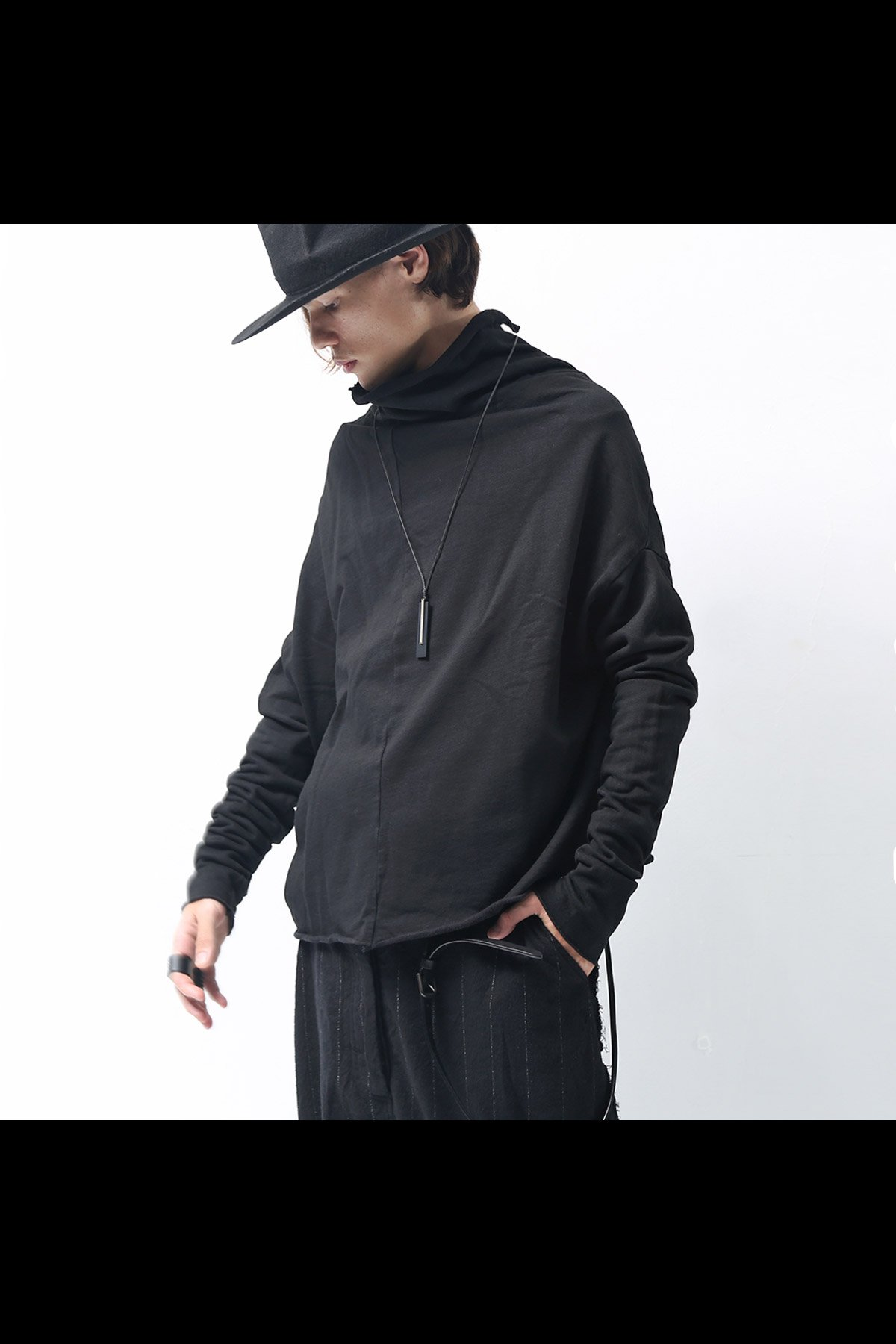 DROPPED SHOULDER SWEAT TOP 242 0503_BLACK