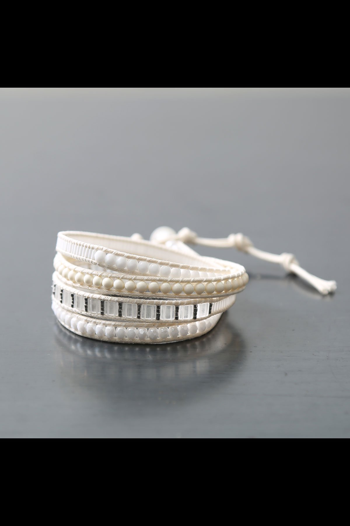 MIX MATERIAL LADDER BRACELET_WHITE