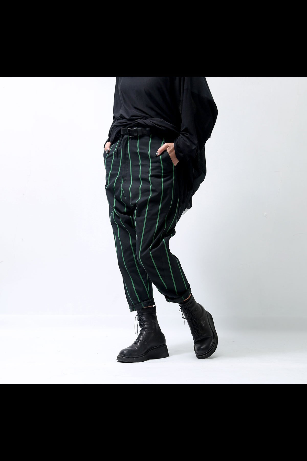 STRIPES HALF BELT PANTS LYRG-267_BLACK