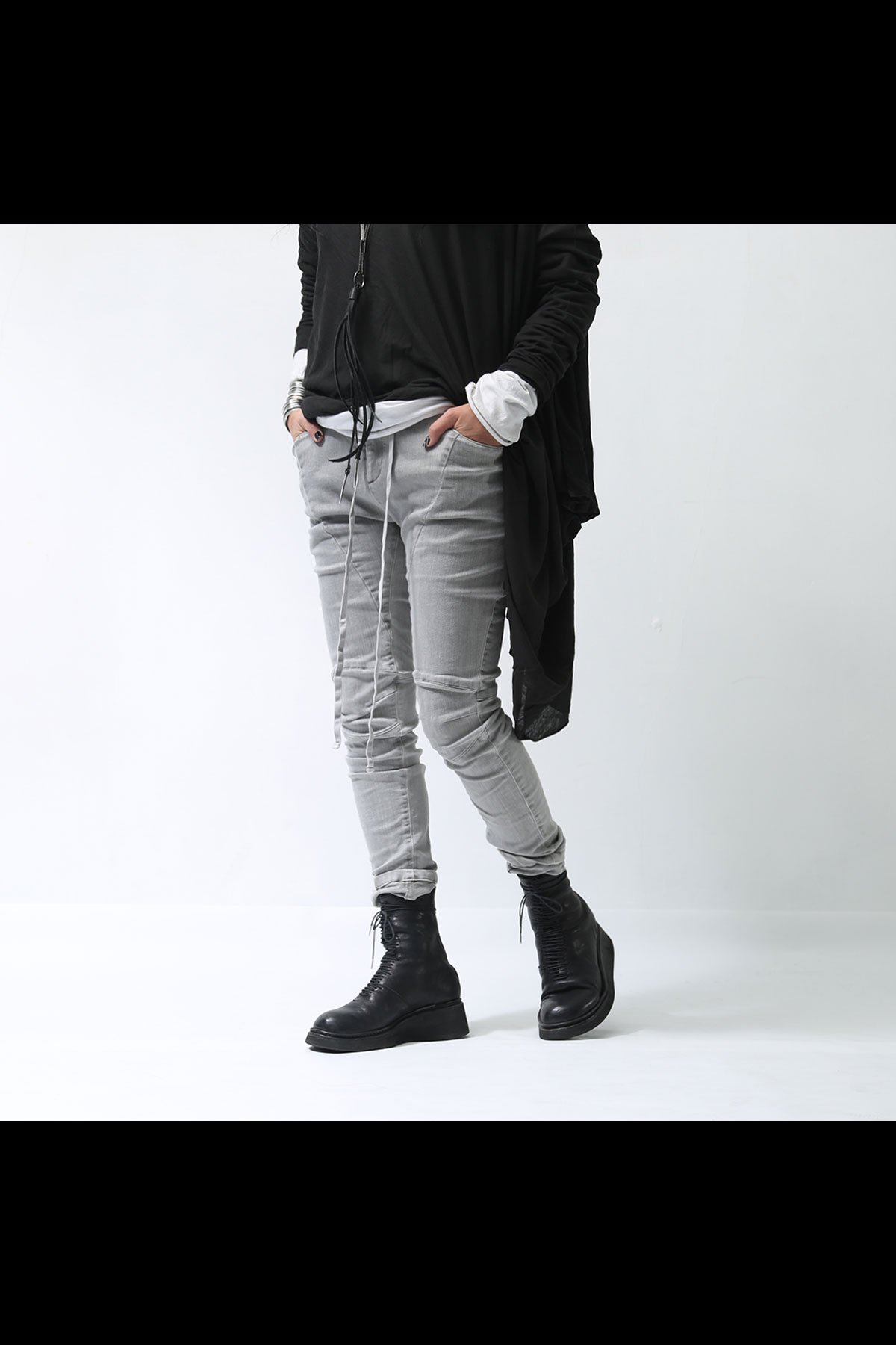STRETCH DENIM UNISEX PANTS 129BP08_GREY